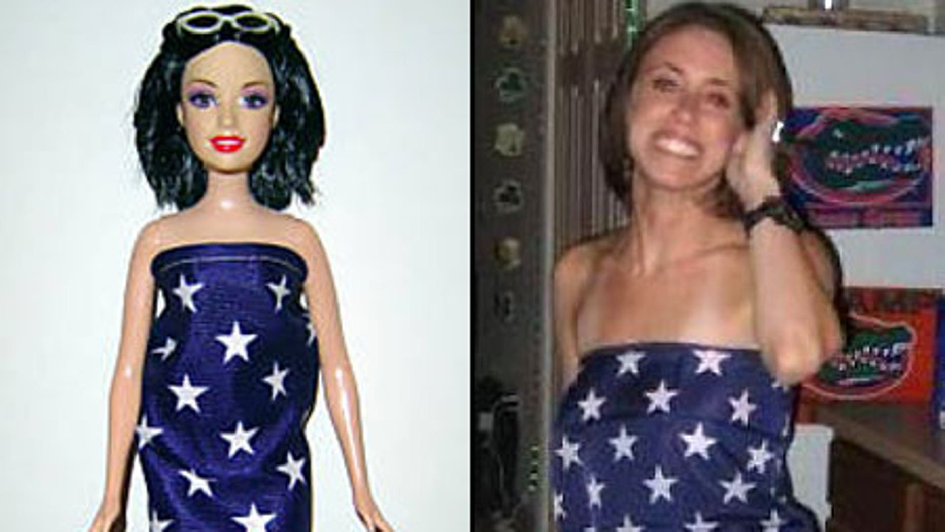 The Casey Anthony doll, and an American flag-clad Casey Anthony.