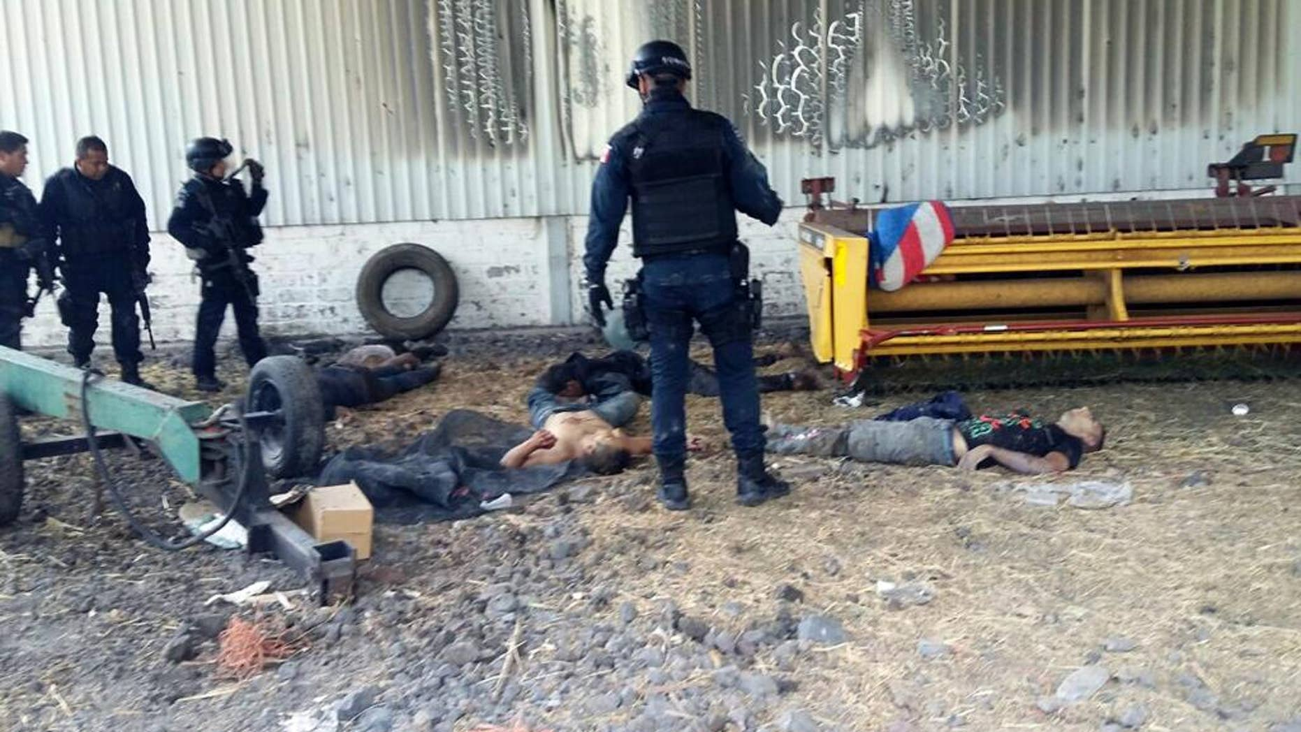 FILE - In this May 22, 2015, file photo, Federal police stand near the bodies of men who authorities say were suspected cartel gunmen at the Rancho del Sol, near Ecuanduero, in western Mexico. Mexico's president dismissed the chief of the federal police force Monday, Aug. 29, 2016, less than two weeks after the country's human rights commission released a scathing report alleging federal police executed at least 22 suspected drug cartel members during a raid on the ranch. (AP Photo/Oscar Pantoja Segundo, File)