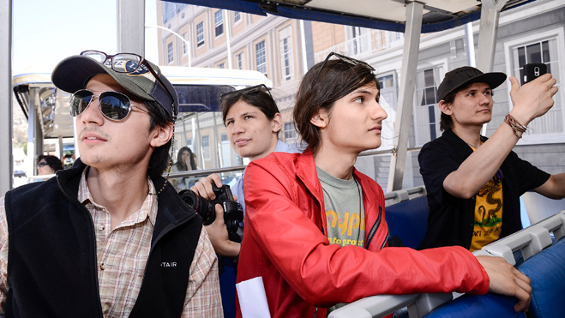 """The Angulos, subjects of  """"The Wolfpack,"""" visit Universal Studios Hollywood on Monday, June 15, 2015."""