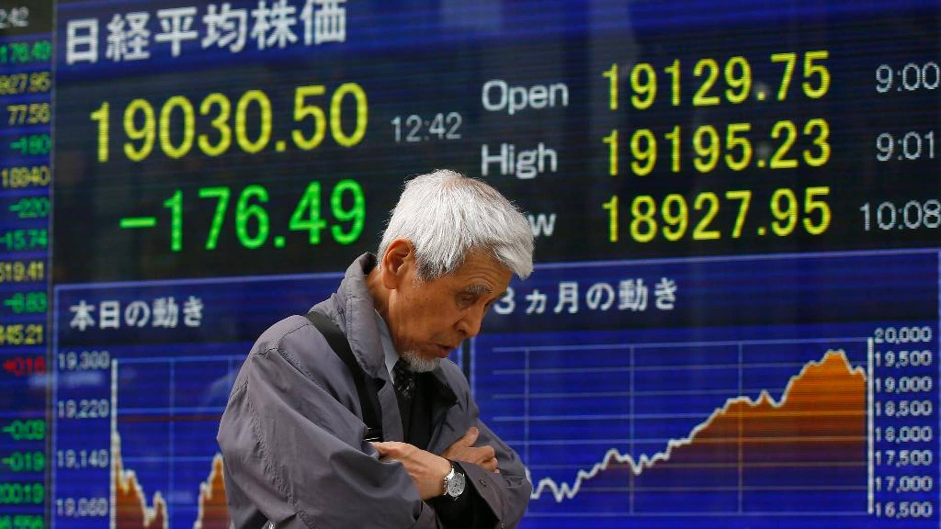 A man walks by an electronic stock indicator of a securities firm in Tokyo, Wednesday, April 1, 2015. Asian stock markets were lackluster Wednesday as China's manufacturing remained weak in February and a Japanese central bank survey showed businesses are wary about the economic outlook. (AP Photo/Shizuo Kambayashi)