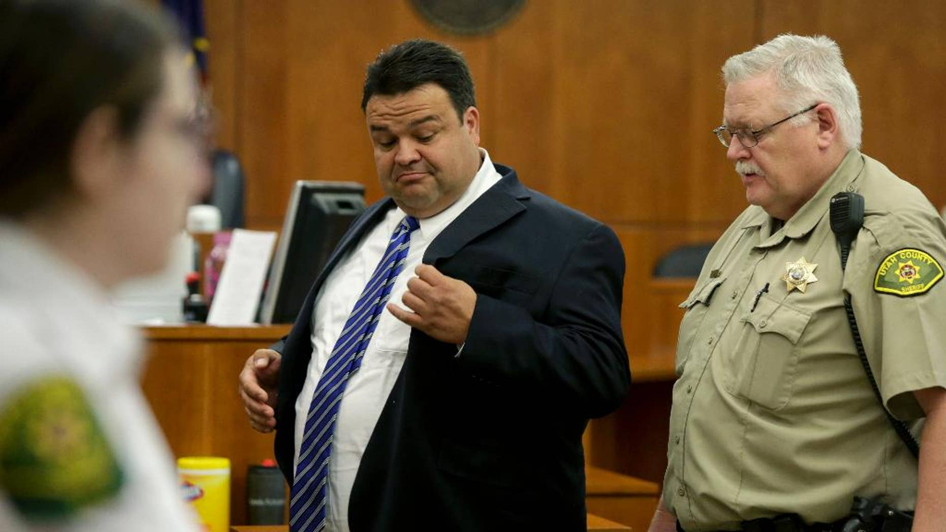 In this Thursday, March 30, 2017, photo, Keith Vallejo leaves the courtroom, in Provo, Utah.
