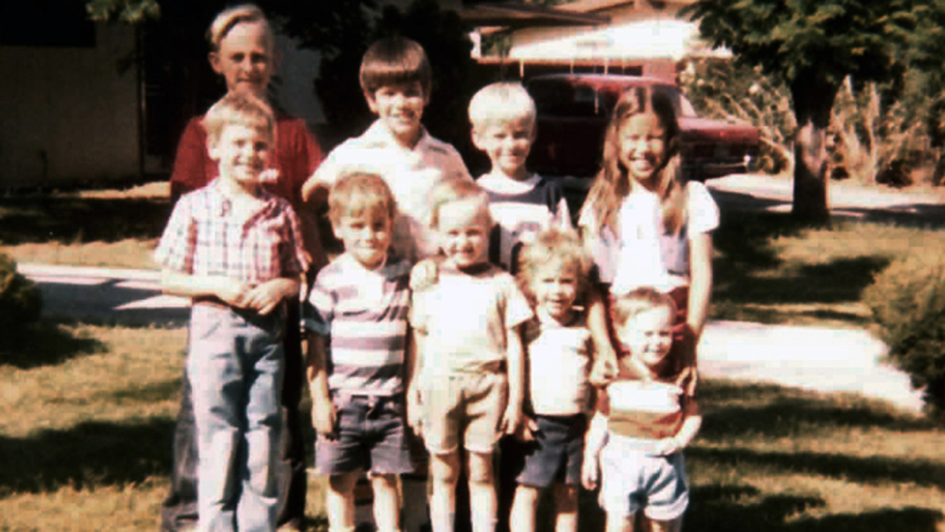 This 1980s photo provided by Bryce Thiriot shows Marco Rubio, second from left back row, his younger sister Veronica, right back row, and their neighbors, the Thiriot brothers, in Las Vegas in the early 1980s. The Republican Florida senator and presidential candidate spent six of his formative years in Las Vegas, where he joined the Church of Jesus Christ of Latter Day Saints and became a strong backer of labor unions. Back row, left to right, Bryan Thiriot, Marco Rubio, Nathan Thiriot, Veronica Rubio. Front row left to right, Jason Thiriot, Joel Dixon, Bryce Thiriot, Jodi Dixon, Jarren Thiriot. (Bonnie Thiriot/Courtesy of Bryce Thiriot via AP)