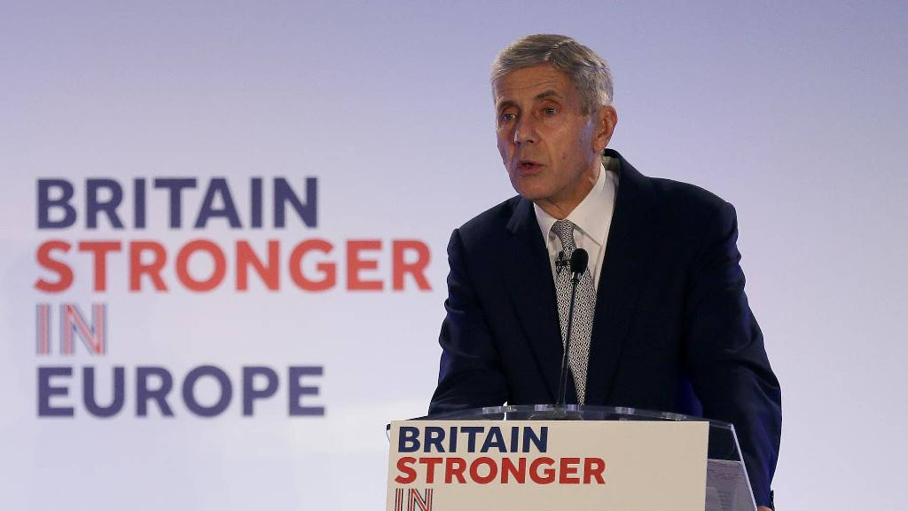 Stuart Rose, campaign chairman for the Britain Stronger in Europe group, makes a speech during the launch a campaign to promote close ties with Europe, at Brick Lane in London, Monday, Oct. 12, 2015.  A referendum is expected to be held in the UK before the end of 2017 on whether Britain should remain part of the European Union. (AP Photo/Tim Ireland)
