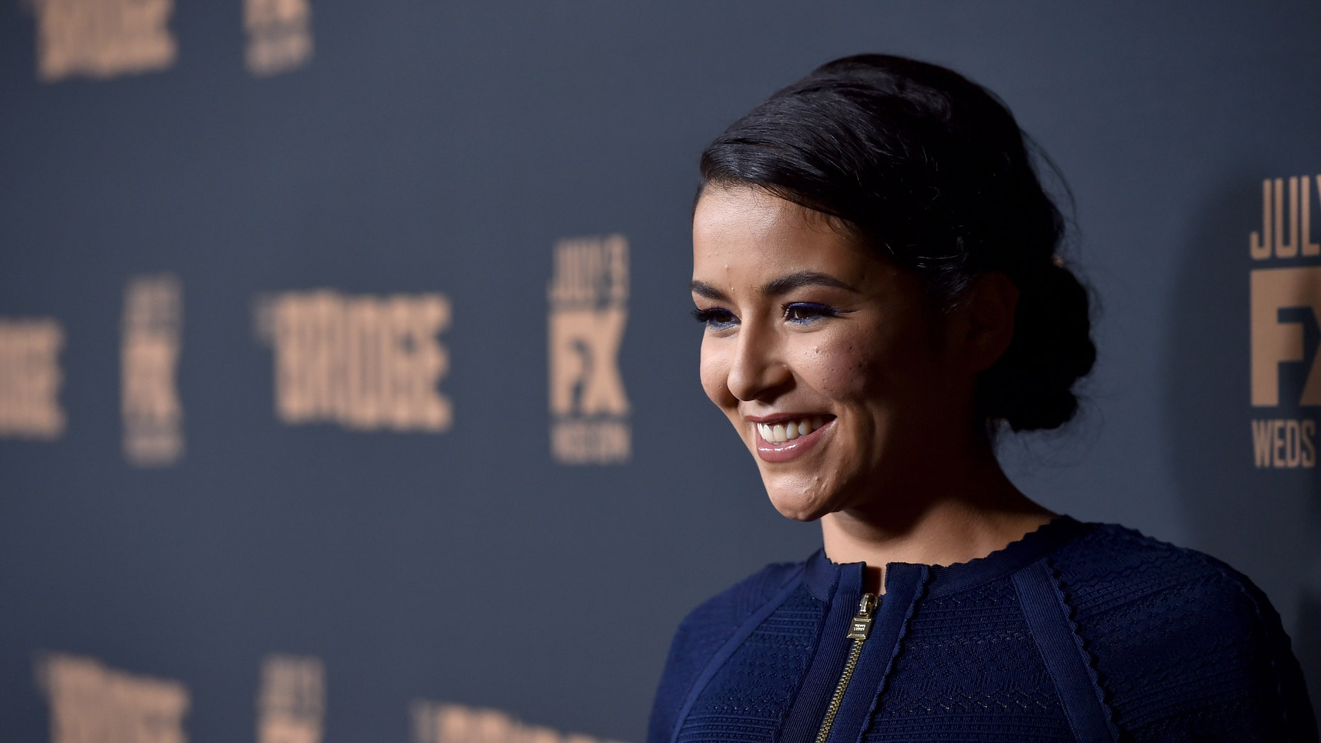"WEST HOLLYWOOD, CA - JULY 07:  Actress Emily Rios attends the premiere of FX's ""The Bridge"" at Pacific Design Center on July 7, 2014 in West Hollywood, California.  (Photo by Alberto E. Rodriguez/Getty Images)"