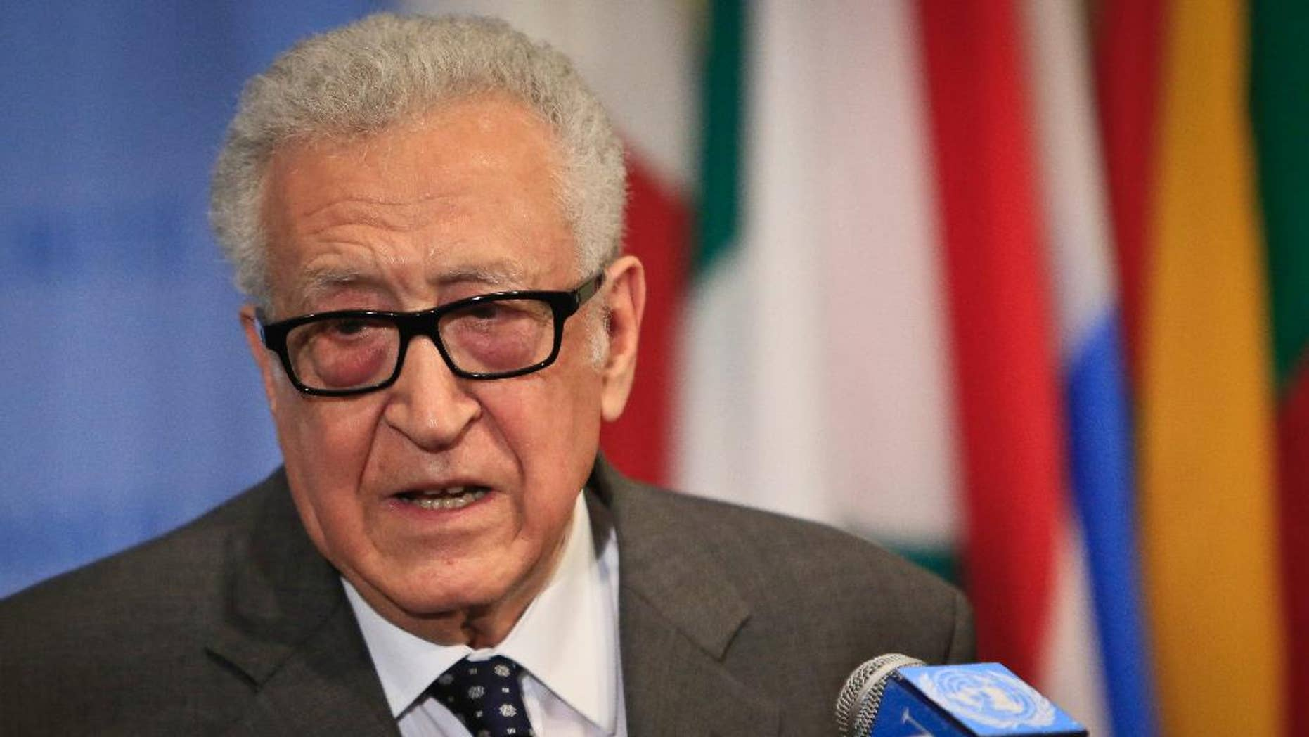Lakhdar Brahimi, U.N. and Arab League Special Envoy to Syria, speaks during a news conference after closed meetings in the U.N. Security Council, Tuesday, May 13, 2014, at United Nations headquarters. Brahimi resigned Tuesday, following in the footsteps of his longtime friend, former U.N. secretary-general Kofi Annan, who resigned from the same job in August 2012 after failing to broker a cease-fire as the country descended into civil war. (AP Photo)