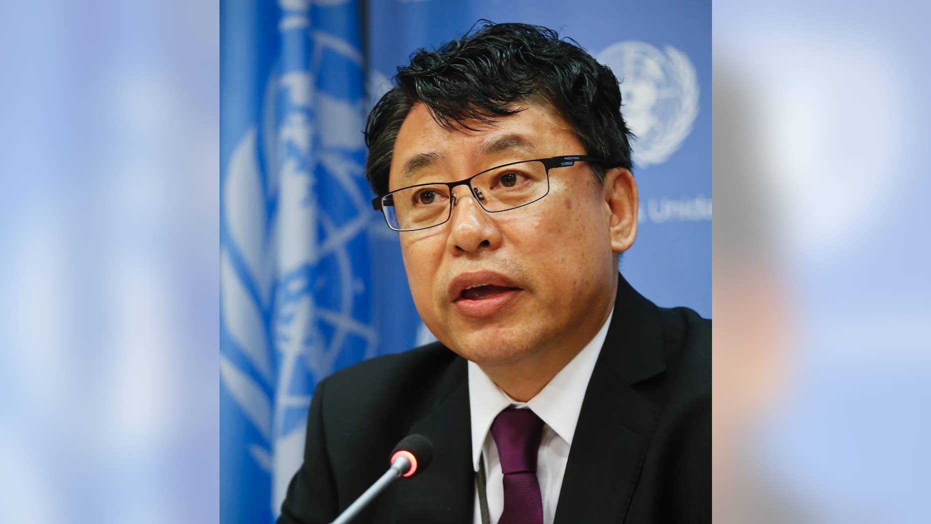 North Korea's Deputy Ambassador to the United Nations, Kim In Ryong, speaks during a news briefing on Monday, April 17, 2017, at U.N. headquarters. (AP Photo/Bebeto Matthews)