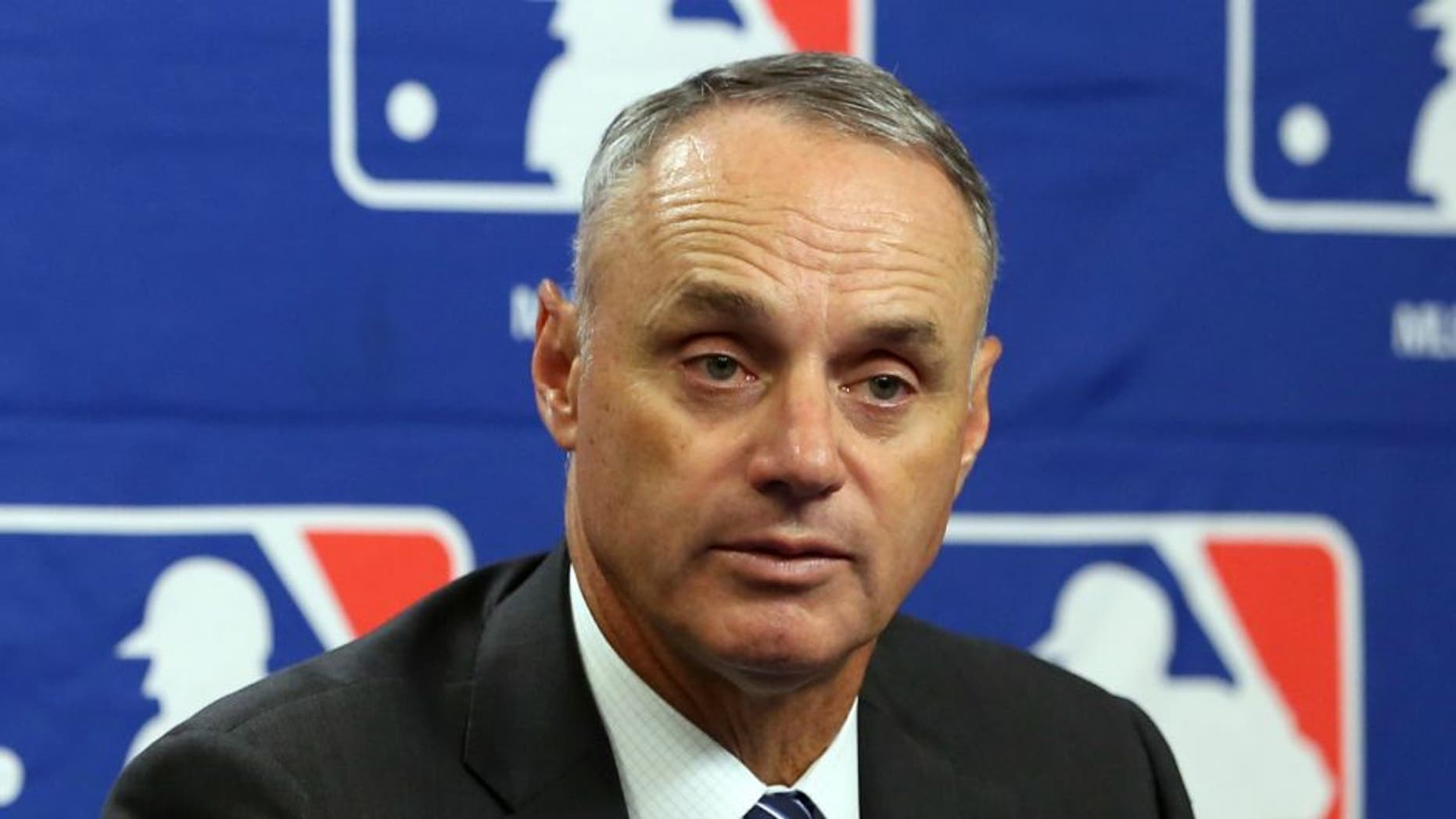 NEW YORK, NY - SEPTEMBER 30: Major League Baseball Commissioner Robert D. Manfred Jr. speaks during the 2015 Sports Diversity & Inclusion Symposium at Citi Field on Wednesday, September 30, 2015 in the Queens borough of New York City. (Photo by Alex Trautwig/MLB Photos via Getty Images)