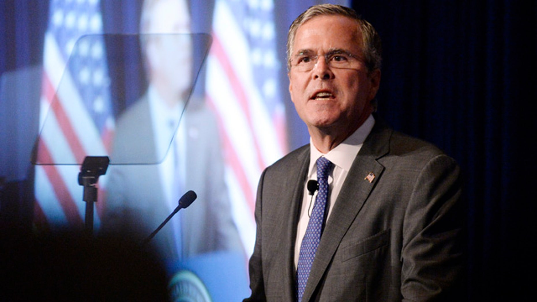 Aug. 11, 2015: Republican presidential candidate Jeb Bush speaks at the Reagan Presidential Library in Simi Valley, Calif. (AP Photo/Kevork Djansezian)