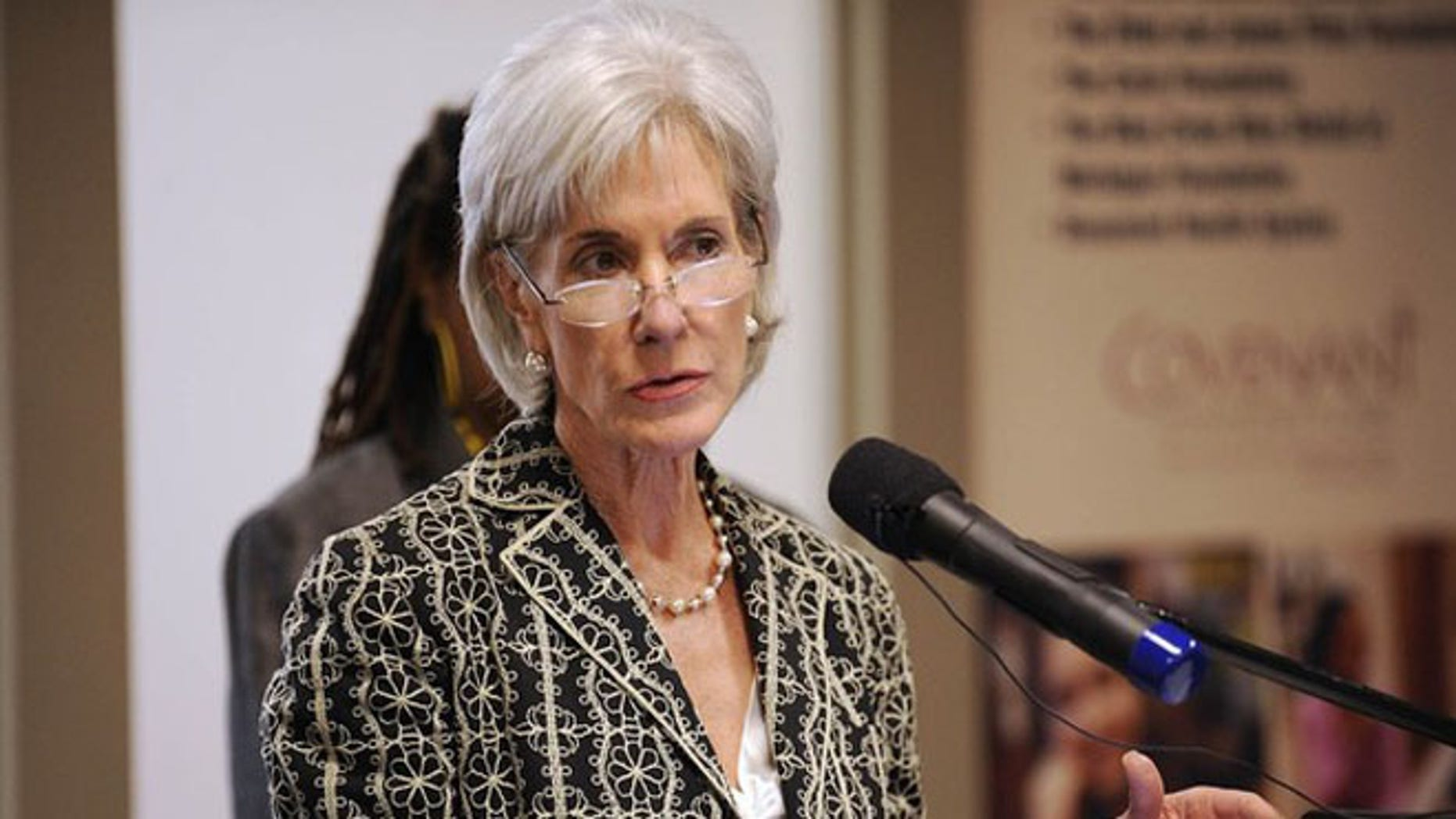 FILE: June 20, 2012: Health and Human Services Secretary Kathleen Sebelius speaks at Covenant Community Care Inc. in Detroit.