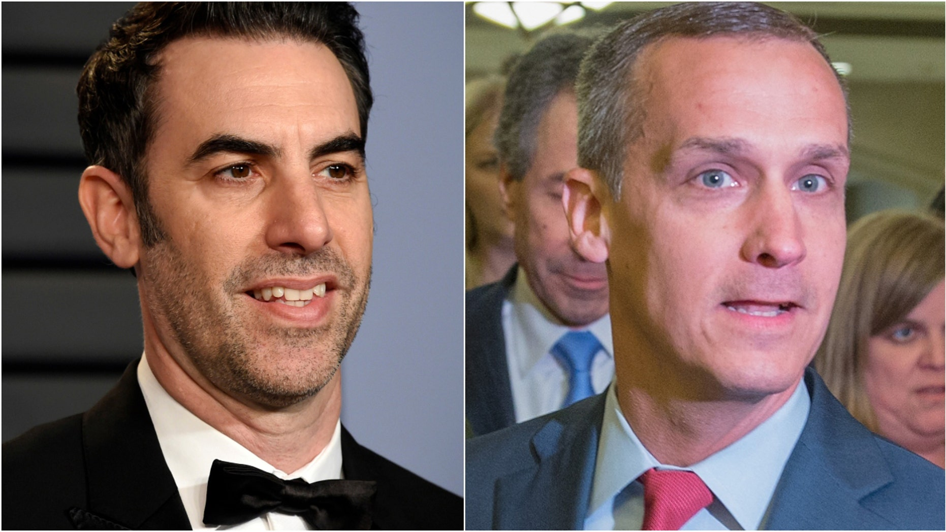 "FILE: President Trump's former campaign manager, Corey Lewandowski, right,  joined the Sacha Baron Cohen on ""Who is America?"" on Sunday."