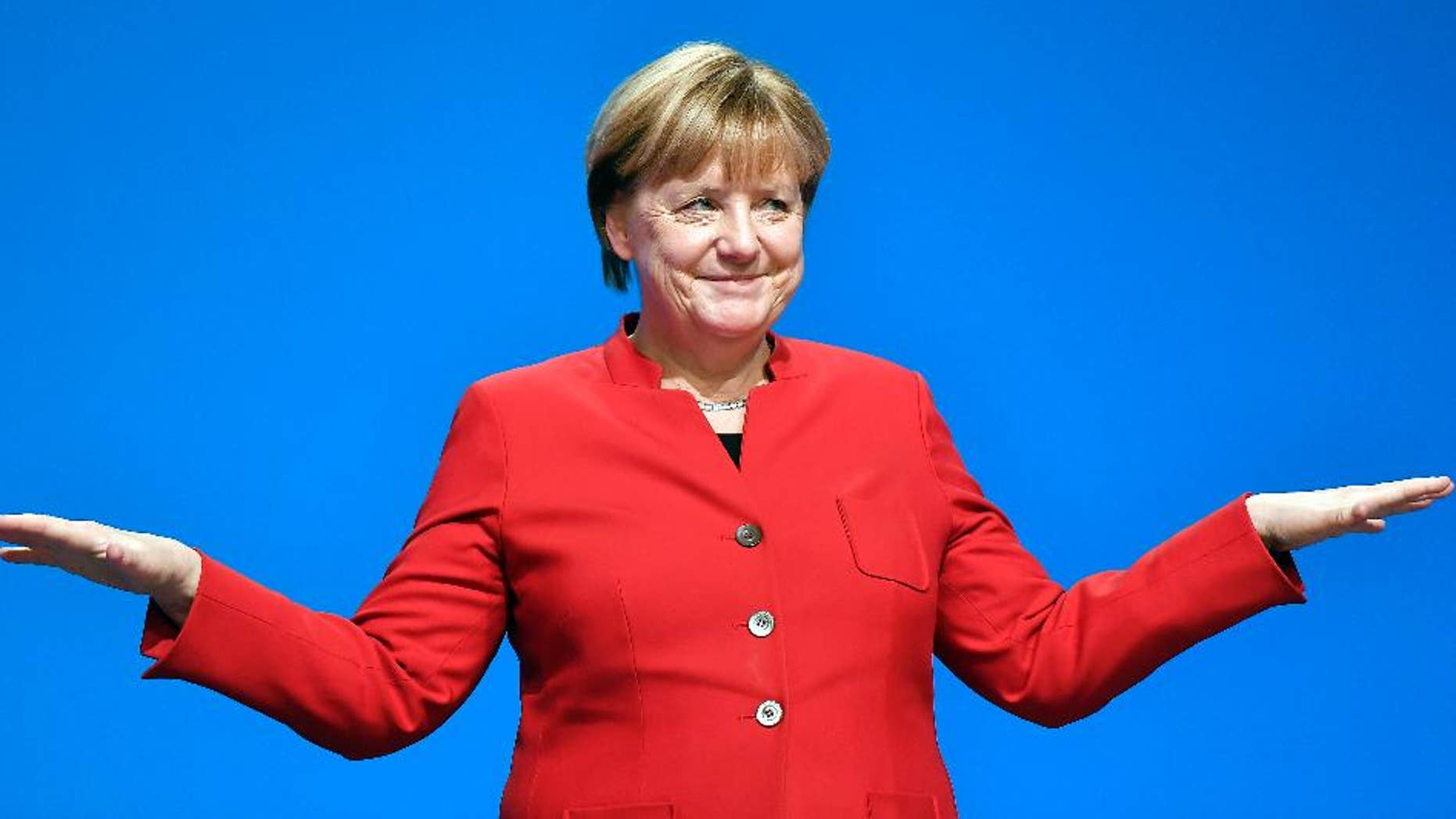 German Chancellor Angela Merkel speaks at the Christian Democratic Union conference on Tuesday.