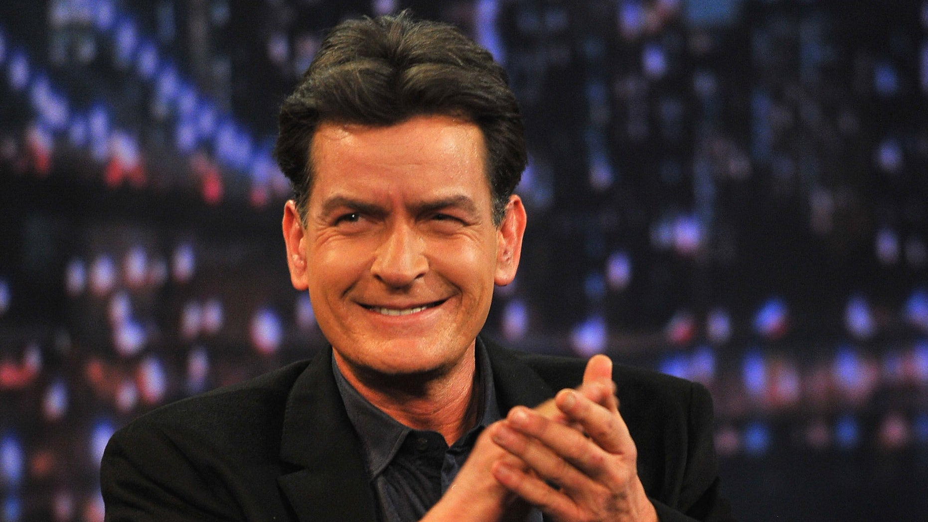 "Charlie Sheen visits ""Late Night With Jimmy Fallon"" on January 15, 2013 in New York City."