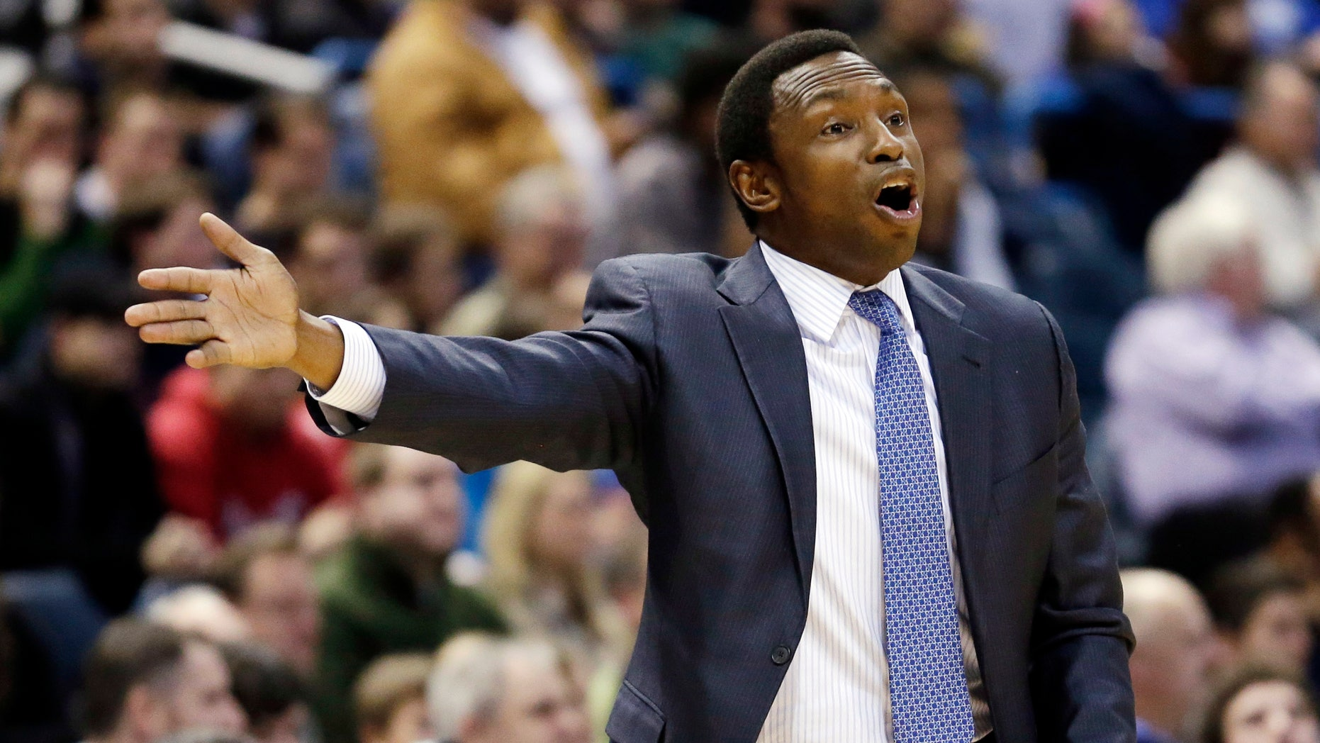 Brooklyn Nets head coach Avery Johnson reacts to a call during the first half of an NBA basketball game against the Milwaukee Bucks, Wednesday, Dec. 26, 2012, in Milwaukee. (AP Photo/Morry Gash)