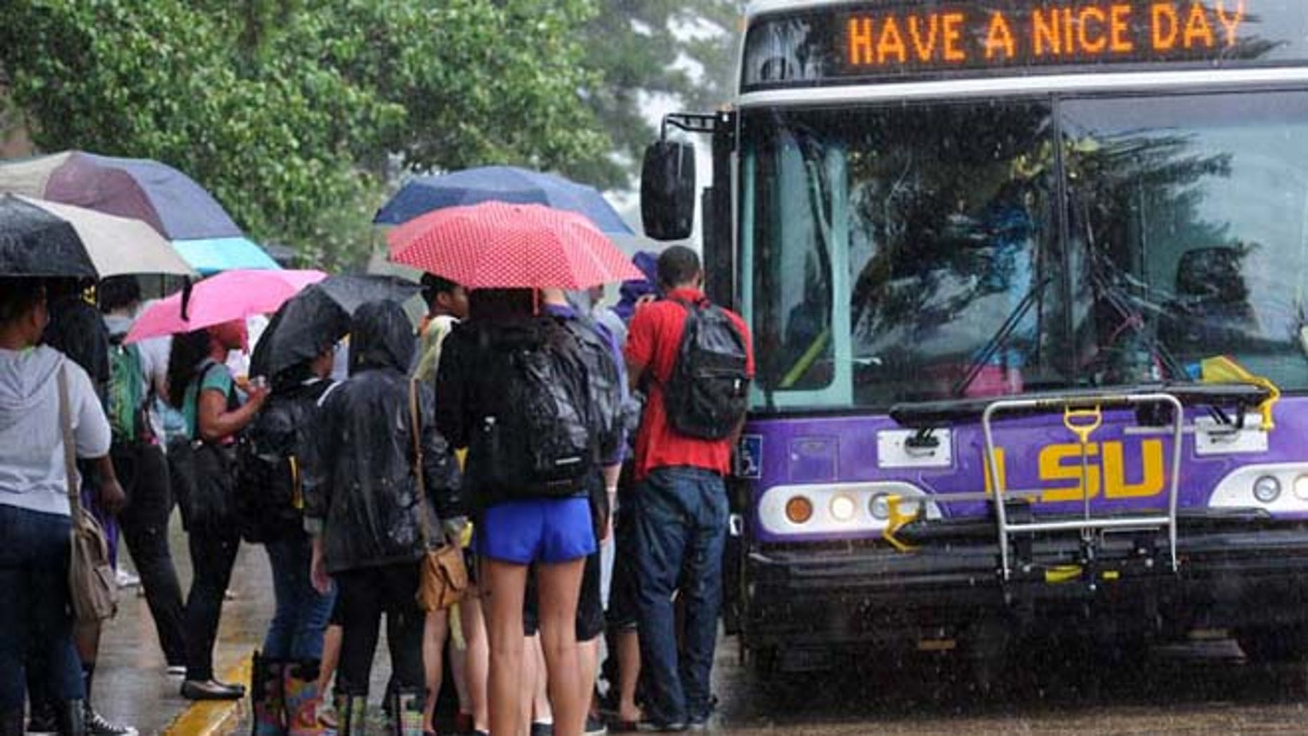 Sept. 17, 2012: LSU students wait for buses to take them off campus after a bomb scare.