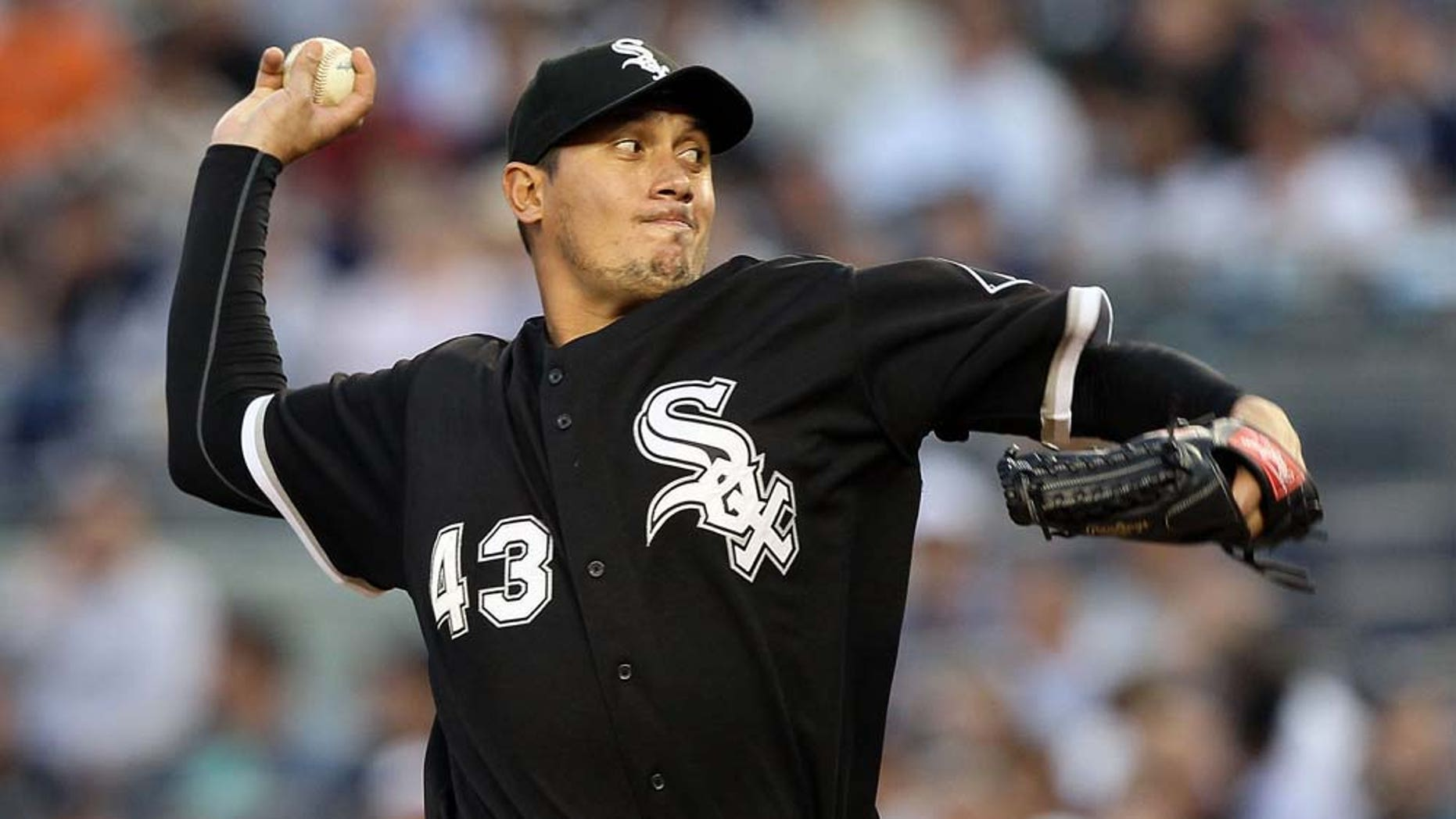 NEW YORK - APRIL 30:  Freddy Garcia #43 of the Chicago White Sox pitches against the New York Yankees on April 30, 2010 at Yankee Stadium in the Bronx borough of New York City.  (Photo by Jim McIsaac/Getty Images)