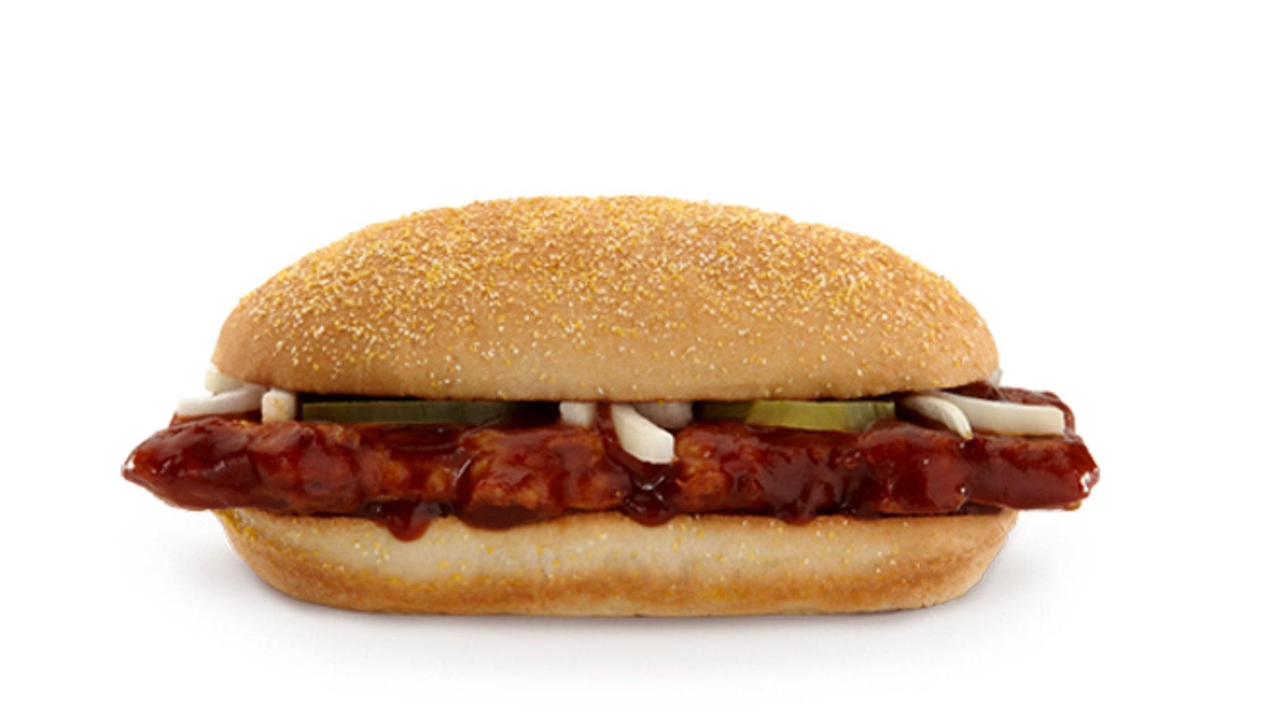 McDonald says the McRib won't be available nationally this year.