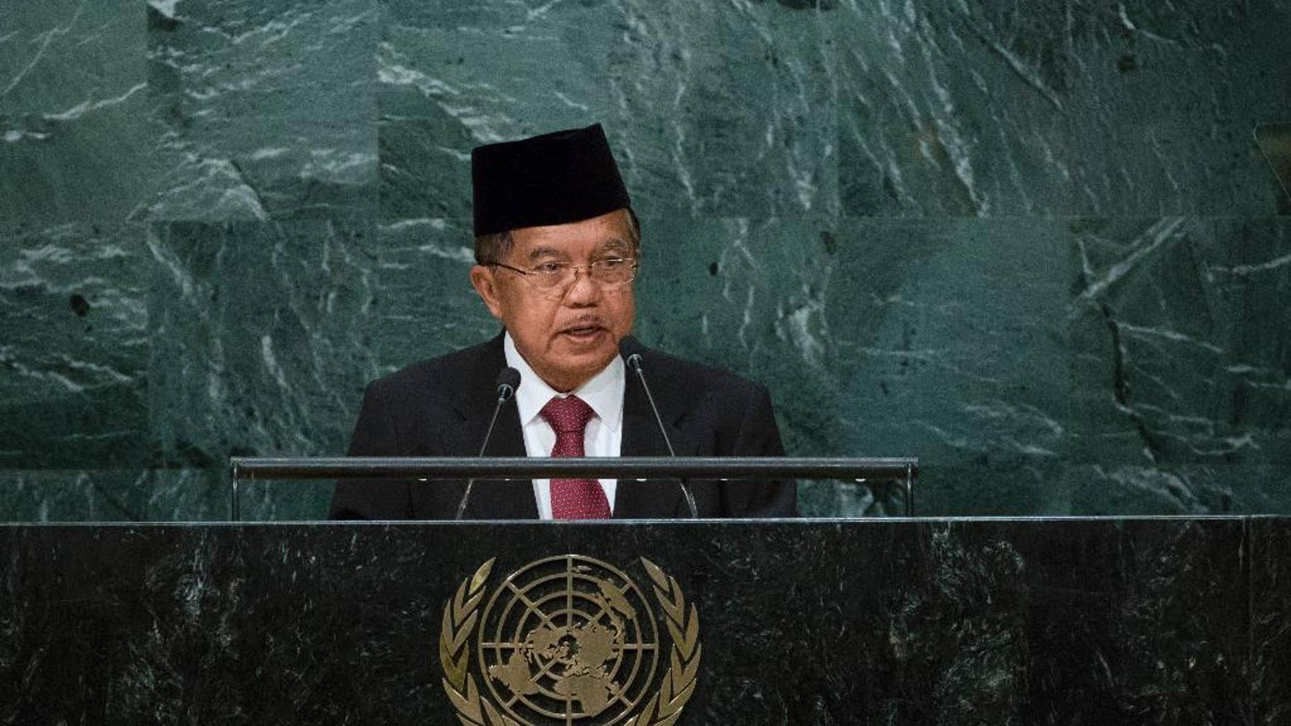 Indonesia's Vice President Muhammad Jusuf Kalla addresses the 71st session of the United Nations General Assembly, at U.N. headquarters, Friday, Sept. 23, 2016. (AP Photo/Craig Ruttle)