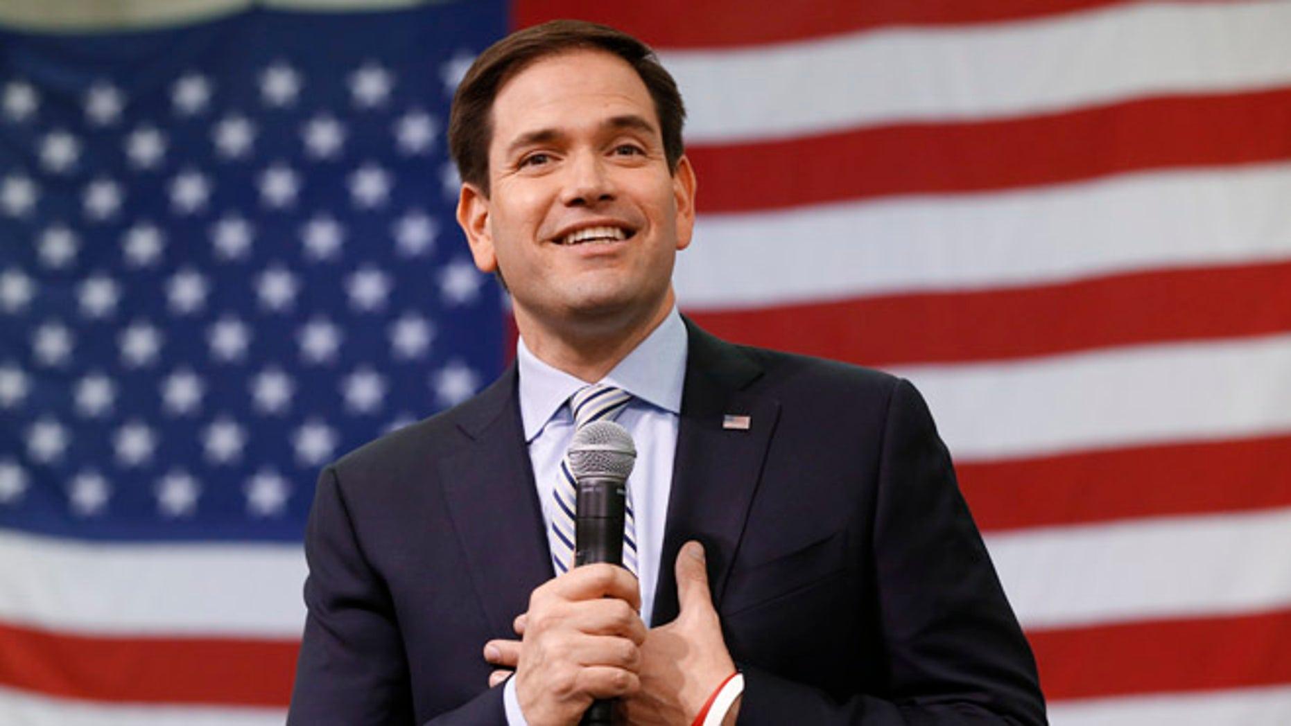 Republican presidential candidate, Sen. Marco Rubio, R-Fla., speaks at a campaign rally in Idaho Falls, Idaho, Sunday, March 6, 2016. (AP Photo/Paul Sancya)