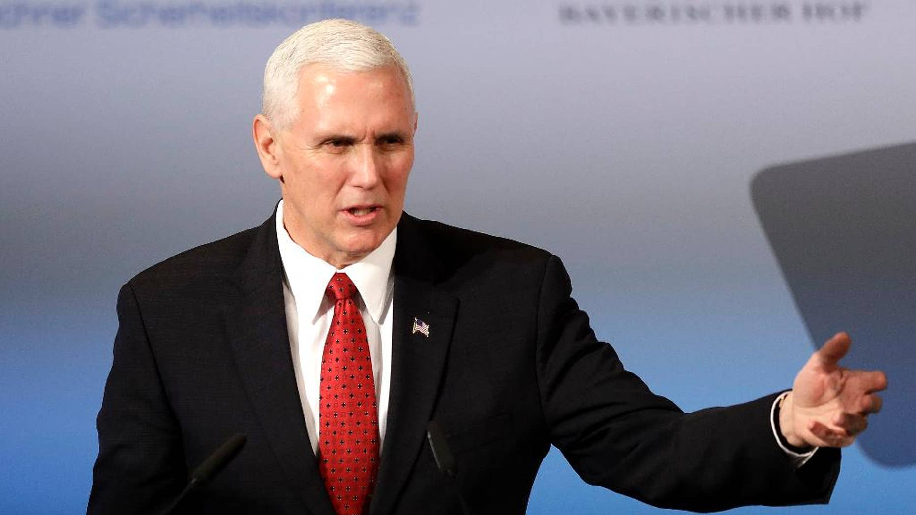 Vice President Mike Pence speaks during the Munich Security Conference in Munich, Germany, Saturday, Feb. 18, 2017.