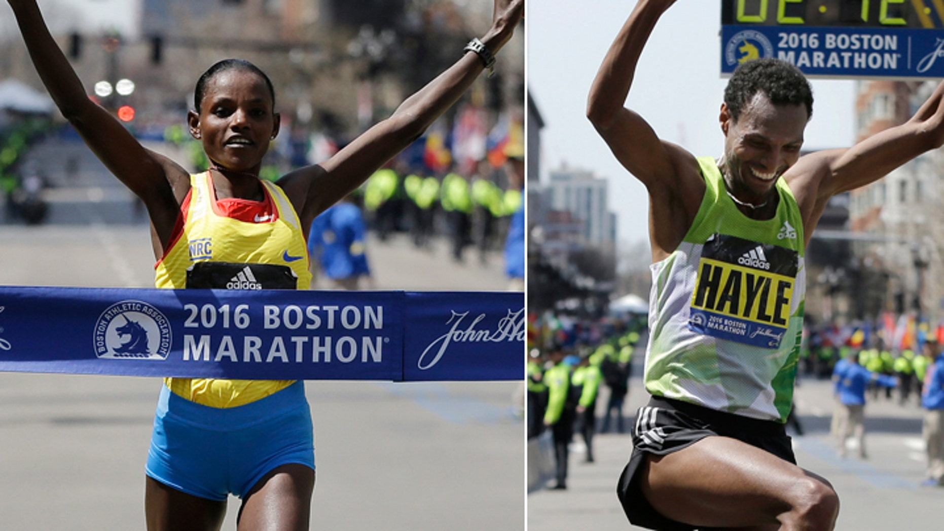 Atsede Baysa won the women's race and Lemi Berhanu Hayle won the men's race at the Boston Marathon.