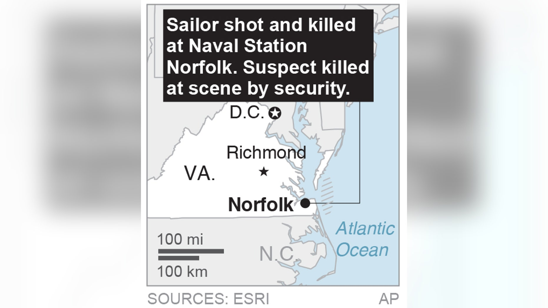 Map locates naval station shooting; 1c x 2 inches; 46.5 mm x 50 mm;