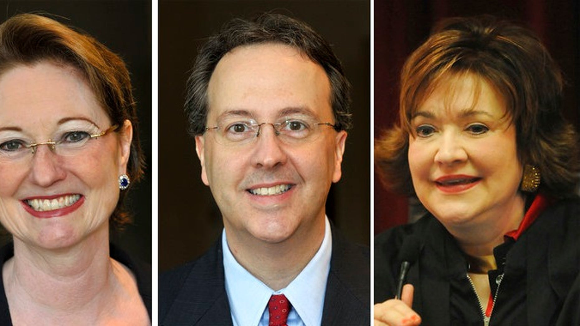 West Virginia state Supreme Court justices, from left, Robin Davis on Oct. 3, 2012, Allen Loughry on Oct. 3, 2012, and Margaret Workman on Dec. 29, 2008. The West Virginia House of Delegates is considering impeachment articles against all four justices.