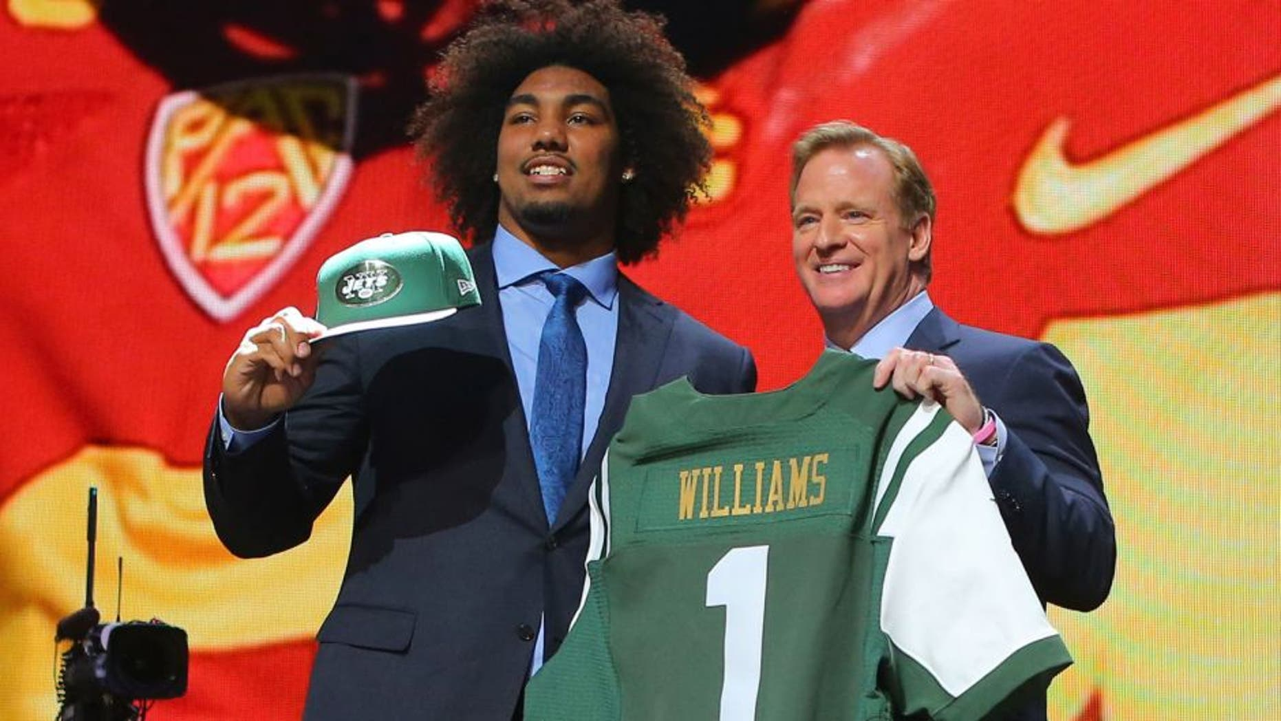 Apr 30, 2015; Chicago, IL, USA; Leonard Williams (Southern California) poses for a photo with NFL commissioner Roger Goodell after being selected as the number sixth overall pick to the New York Jets in the first round of the 2015 NFL Draft at the Auditorium Theatre of Roosevelt University. Mandatory Credit: Dennis Wierzbicki-USA TODAY Sports