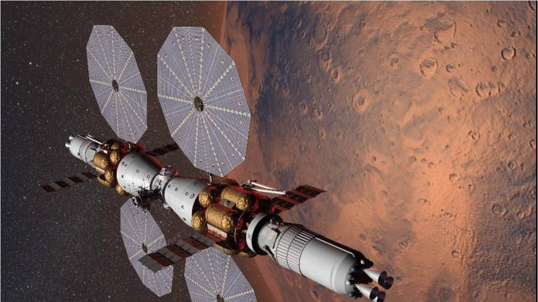Artist's concept of Mars Base Camp, a proposed space station that could be circling the Red Planet by 2028.