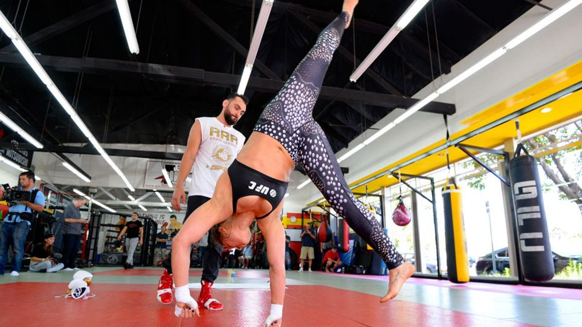 GLENDALE, CA - JULY 15: UFC Bantamweight champion Ronda Rousey works out during a media training session with trainer Edmond Tarverdyan at the Glendale Fight Club on July 15, 2015 in Glendale, California. (Photo by Robert Laberge/Zuffa LLC/Zuffa LLC via Getty Images)
