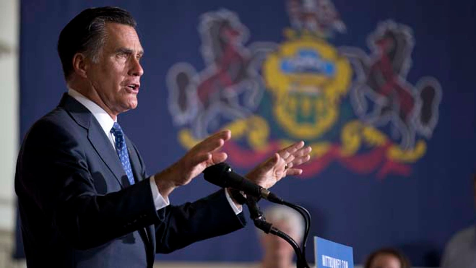 Sept. 28, 2012: Mitt Romney speaks during a rally at Valley Forge Military Academy and College.
