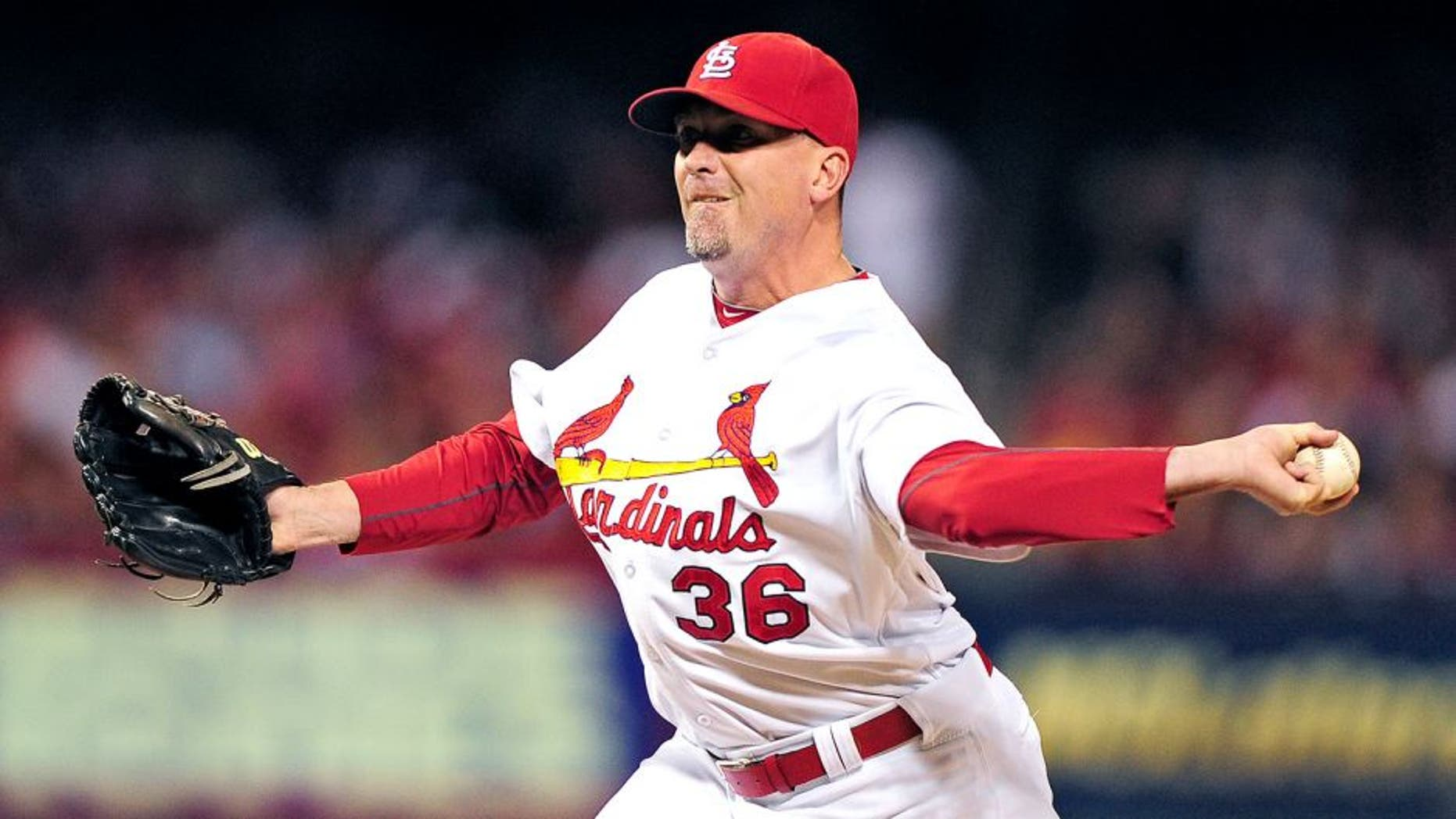 Sep 19, 2014; St. Louis, MO, USA; St. Louis Cardinals relief pitcher Randy Choate (36) throws to a Cincinnati Reds batter during the ninth inning at Busch Stadium. The Cardinals defeated the Reds 2-1. Mandatory Credit: Jeff Curry-USA TODAY Sports