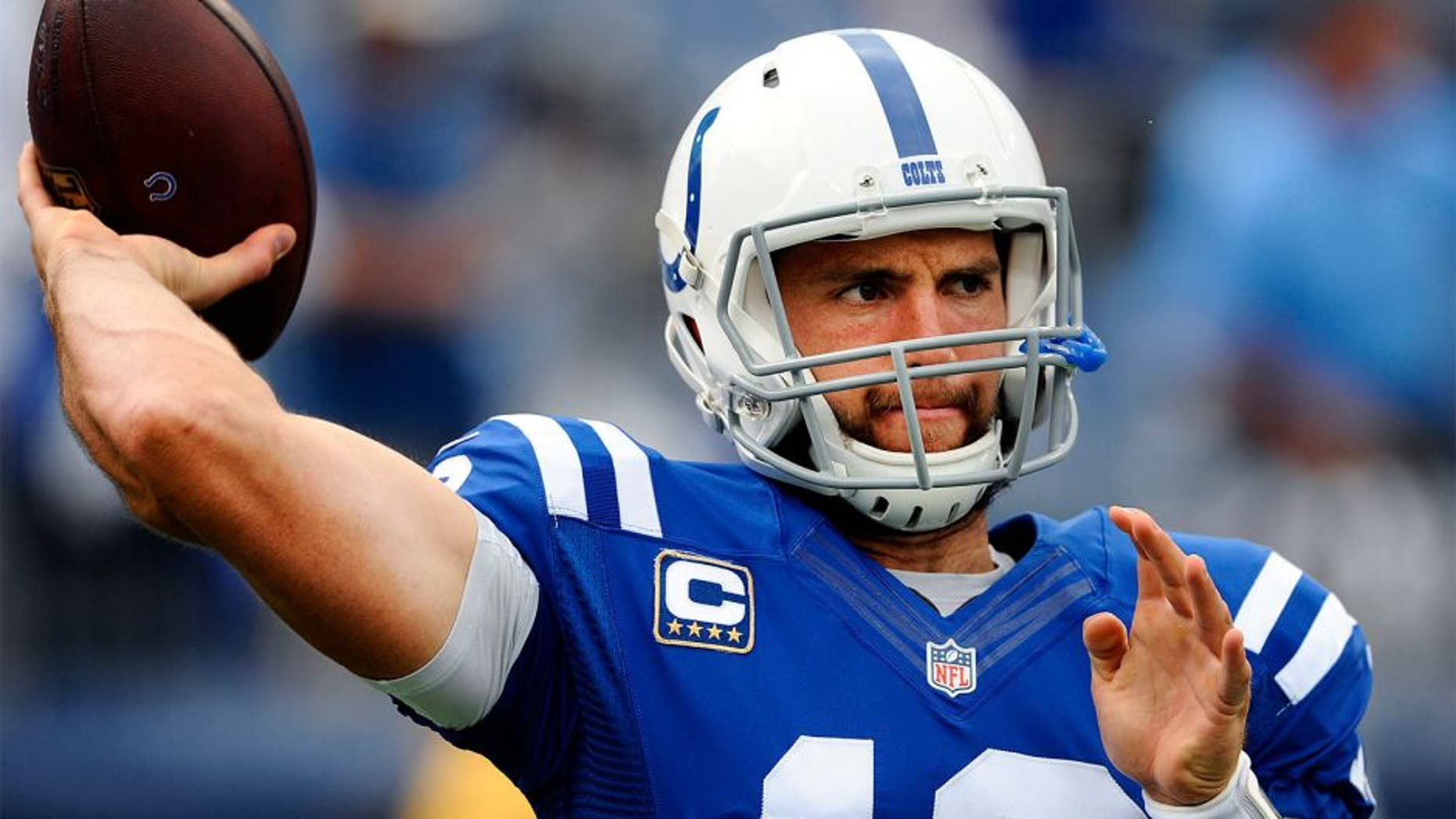Sep 27, 2015; Nashville, TN, USA; Indianapolis Colts quarterback Andrew Luck (12) warms up prior to the game against the Tennessee Titans at Nissan Stadium. Mandatory Credit: Christopher Hanewinckel-USA TODAY Sports