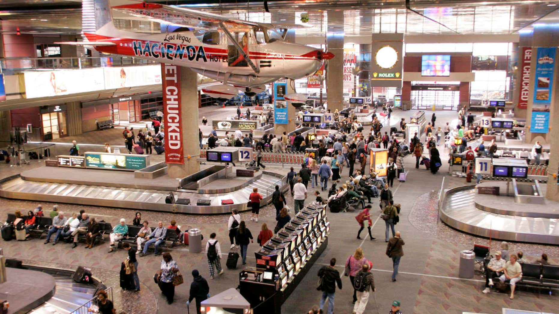 A view is seen of the baggage pick-up area at McCarran International Airport in Las Vegas