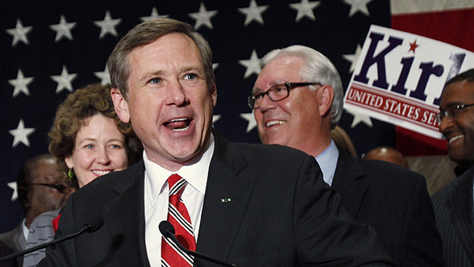 Nov. 2: Illinois Sen.-elect Mark Kirk, R-Ill., celebrates as he speaks to his supporters after defeating Democratic nominee Alexi Giannoulias in Wheeling, Ill.