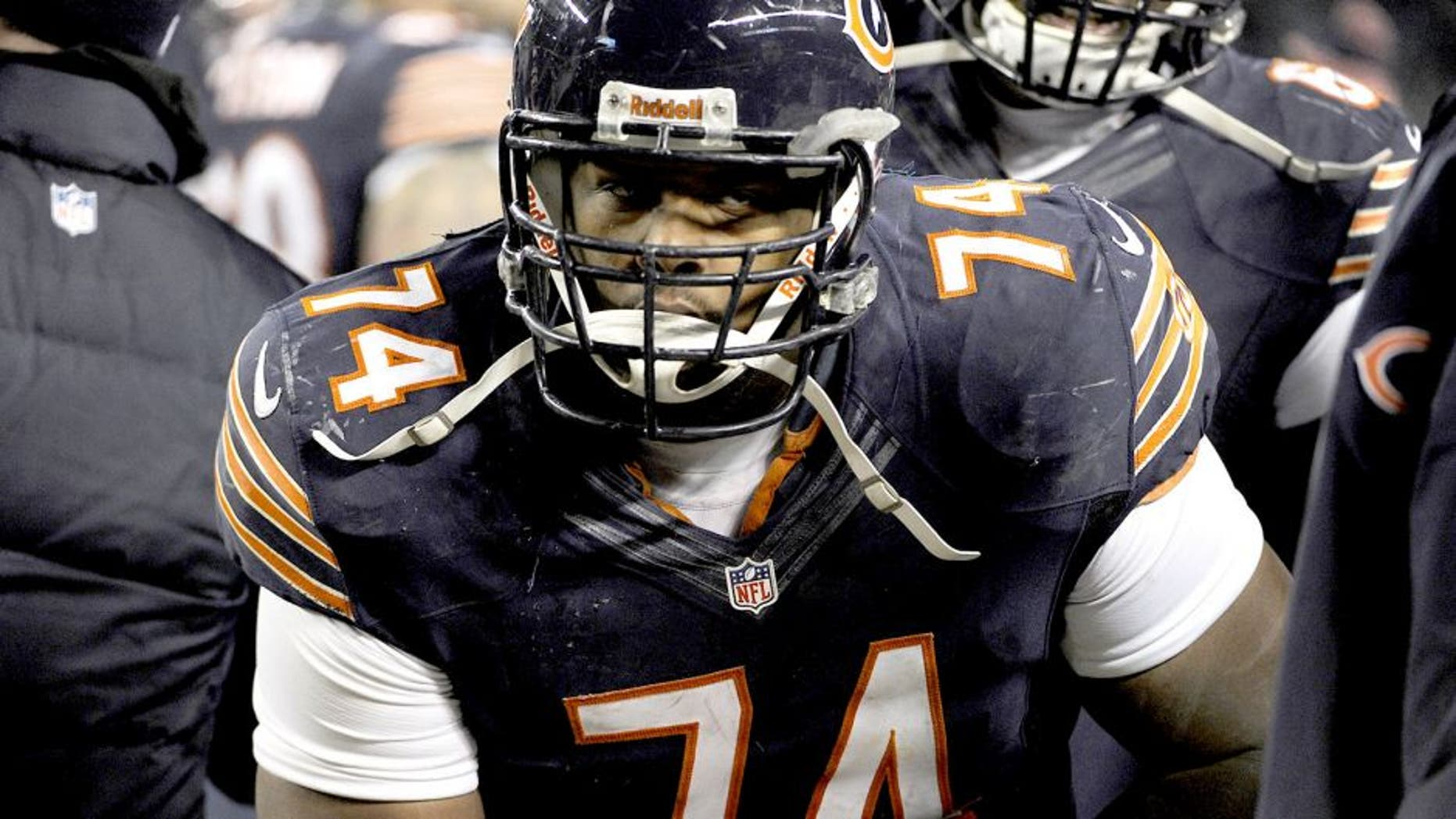 CHICAGO, IL - DECEMBER 9: Jermon Bushrod #74 of the Chicago Bears plays against the Dallas Cowboys on December 9, 2013 at Soldier Field in Chicago, Illinois. (Photo by David Banks/Getty Images)