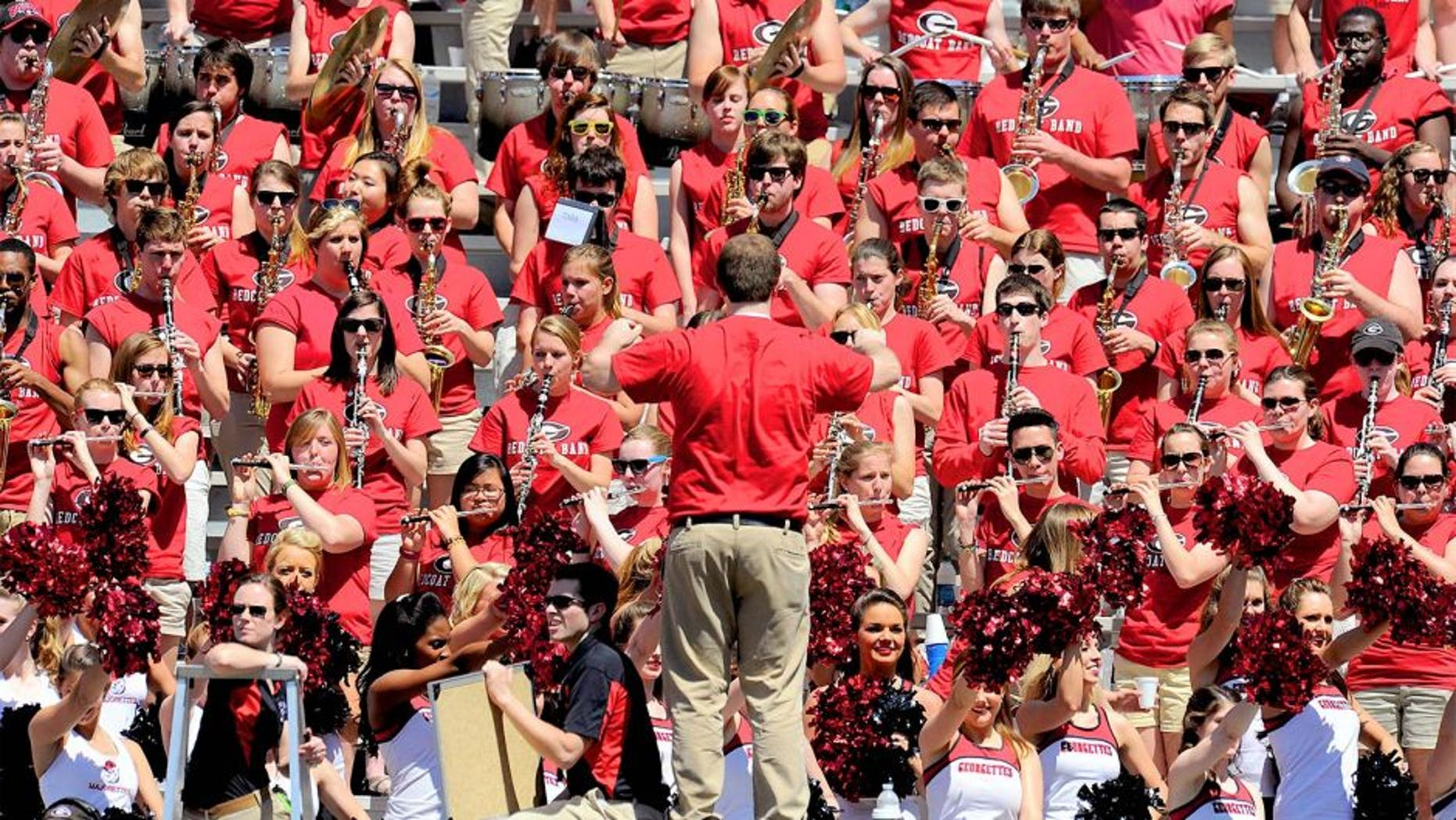 Apr 6, 2013; Athens, GA, USA; The Georgia Bulldogs band shown during the Georgia Spring Day Game at Sanford Stadium. The black team defeated the red team 23-17. Mandatory Credit: Dale Zanine-USA TODAY Sports