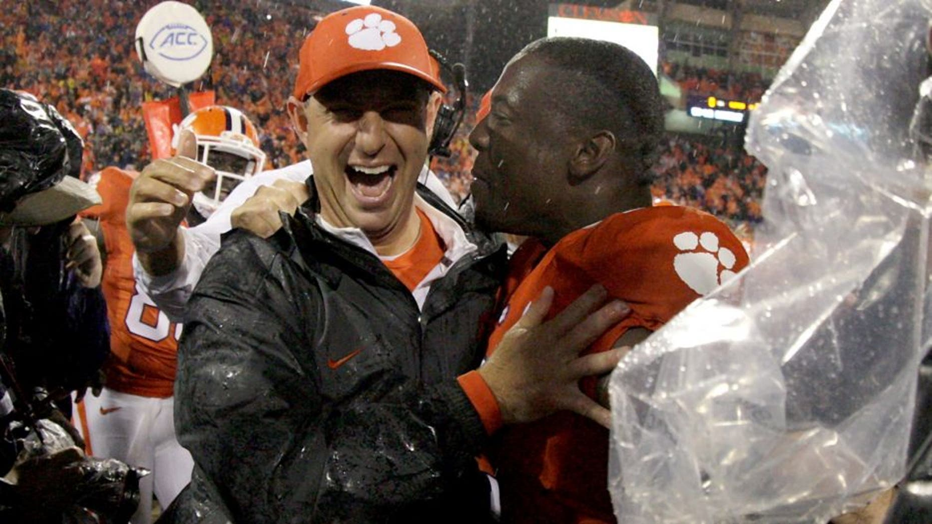 CLEMSON, SC - OCTOBER 3: Head Coach Dabo Swinney of the Cemson Tigers celebrates after defeating the Notre Dame Fighting Irish 24-22 at Clemson Memorial Stadium on October 3, 2015 in Clemson, South Carolina. (Photo by Tyler Smith/Getty Images)