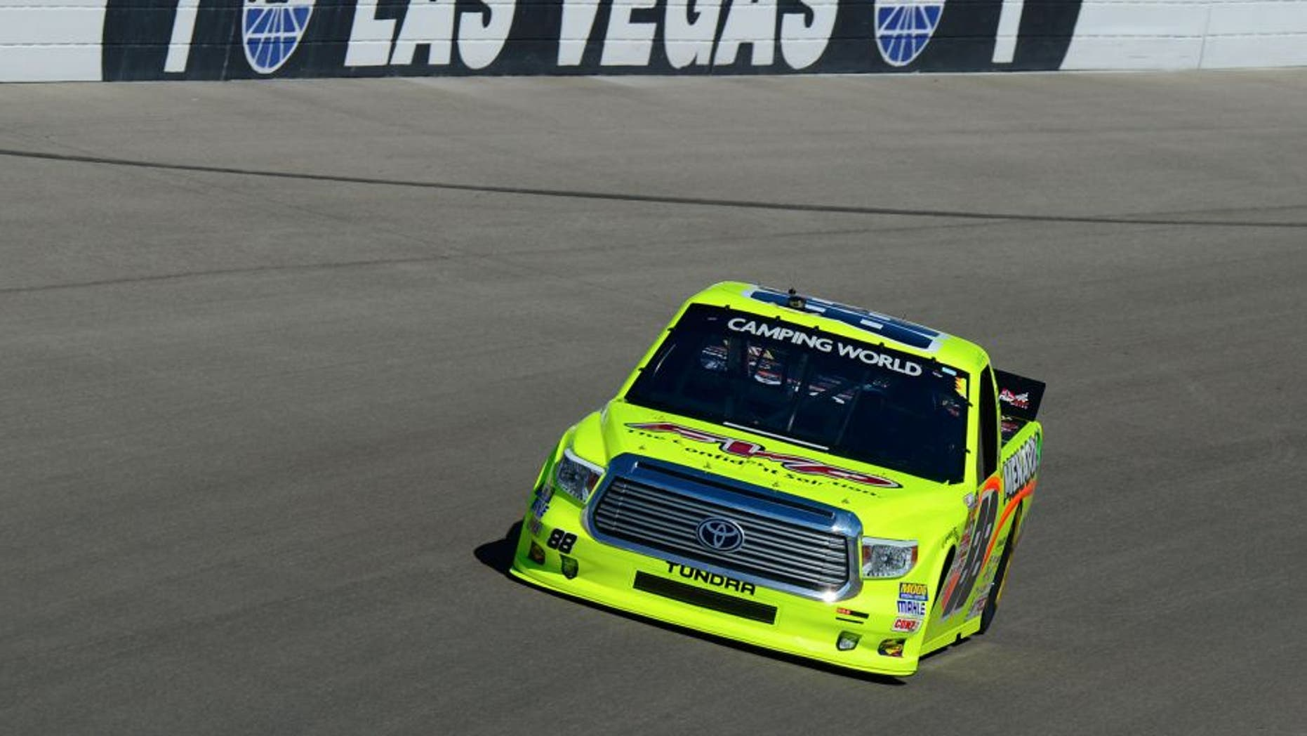 LAS VEGAS, NV - OCTOBER 3: Matt Crafton driver of the #88 FVP/Menards Toyota during practice for the NASCAR Camping World Truck Series Rhino Linings 350 at the Las Vegas Motor Speedway on October 3, 2015 in Las Vegas, Nevada. (Photo by Robert Laberge/NASCAR via Getty Images)