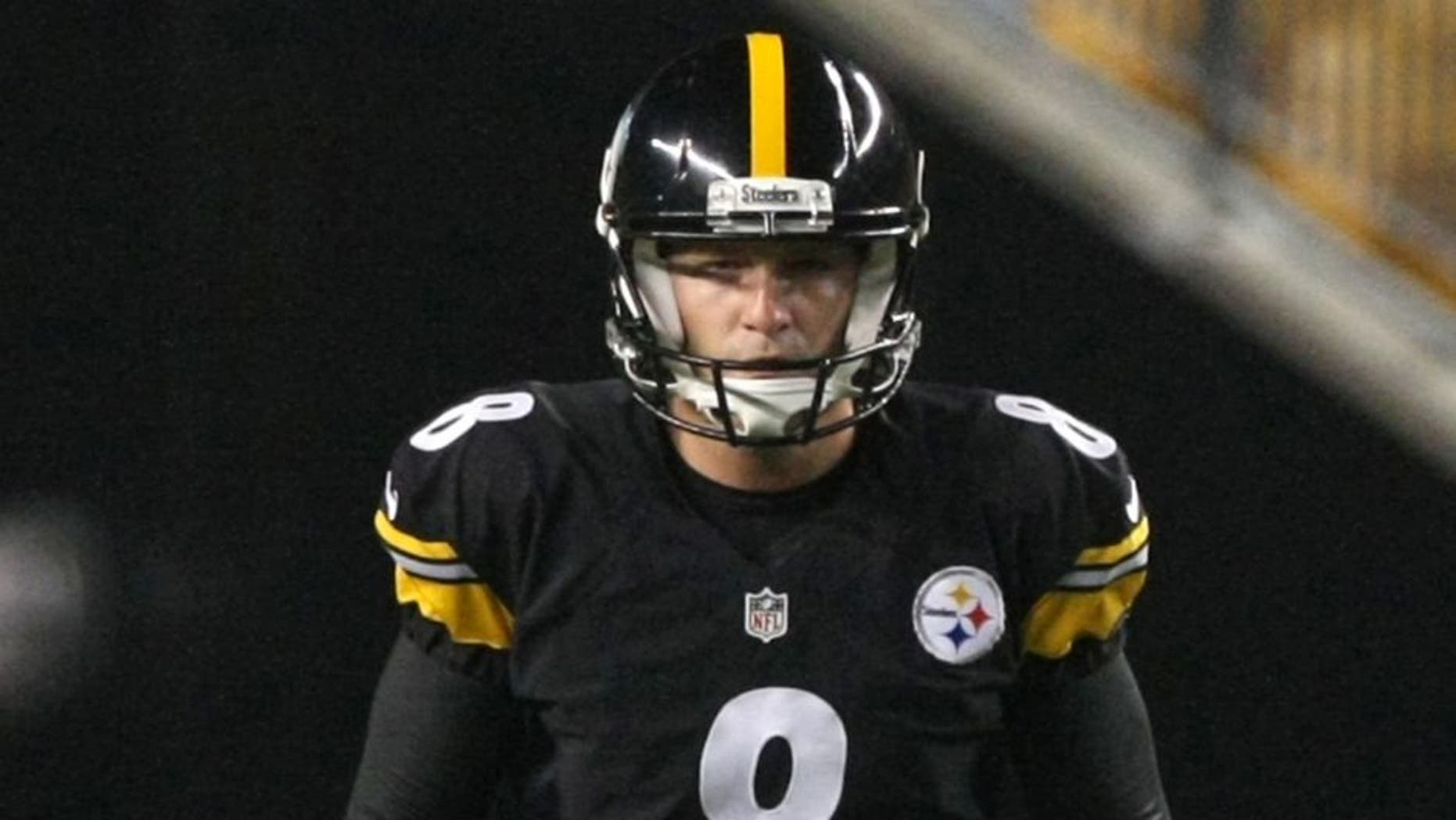 Sep 3, 2015; Pittsburgh, PA, USA; Pittsburgh Steelers kicker Josh Scobee (8) prepares to kick off against the Carolina Panthers during the second half at Heinz Field. The Panthers won the game, 23-6. Mandatory Credit: Jason Bridge-USA TODAY Sports