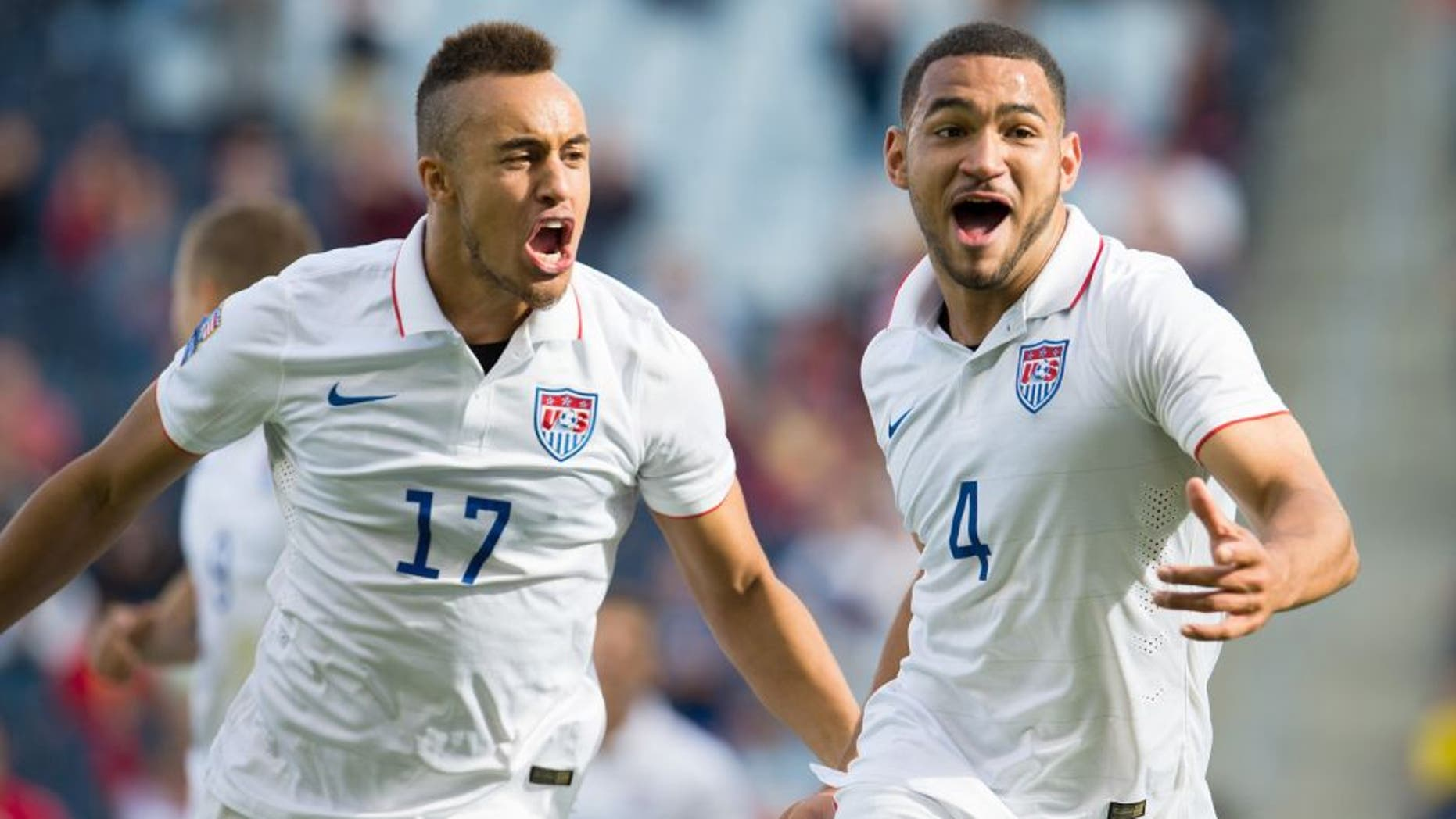 Action photo during the match Cuba vs United States, Corresponding to Group A of 2015 CONCACAF Mens Olympic Qualifying Championship at Sporting Park Stadium, in the photo: Cameron Carter-Vickers celebrates his goal with Jordan Morris and Jerome Kiesewetter of United States Foto de accion durante el partido Cuba vs Estados Unidos, Correspondiente al Grupo B del Campeonato Preolimpico-Hombres de la CONCACAF 2015 en el Estadio Sporting Park, en la foto: Cameron Carter-Vickers celebra su gol con Jordan Morris y Jerome Kiesewetter de Estados Unidos 03/10/2015/MEXSPORT/Jorge Martinez.