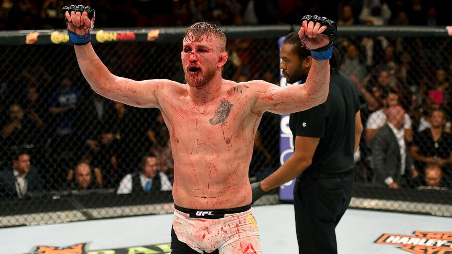 HOUSTON, TX - OCTOBER 03: Alexander Gustafsson raises his hands after facing Daniel Cormier in their UFC light heavyweight championship bout during the UFC 192 event at the Toyota Center on October 3, 2015 in Houston, Texas. (Photo by Josh Hedges/Zuffa LLC/Zuffa LLC via Getty Images)