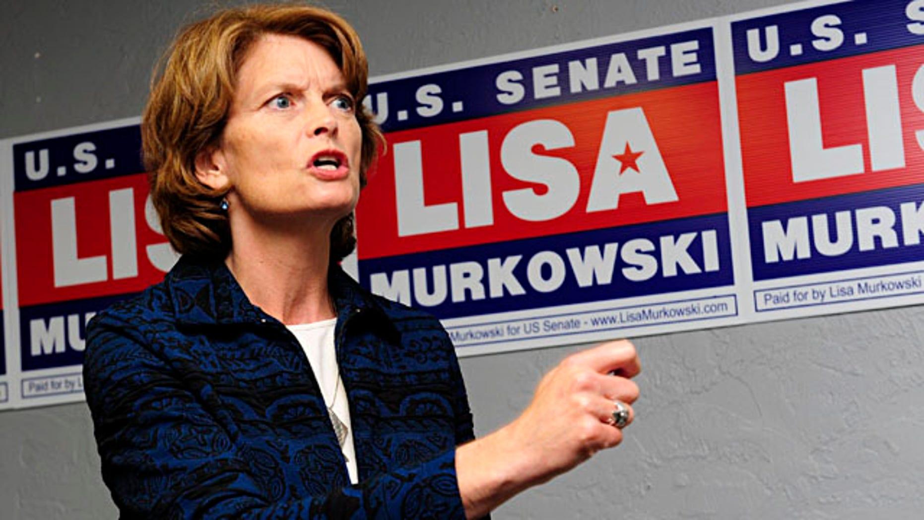 Sept. 24: Sen. Lisa Murkowski, R-Alaska, addresses a group of supporters at her new Juneau campaign headquarters in Juneau, Alaska.