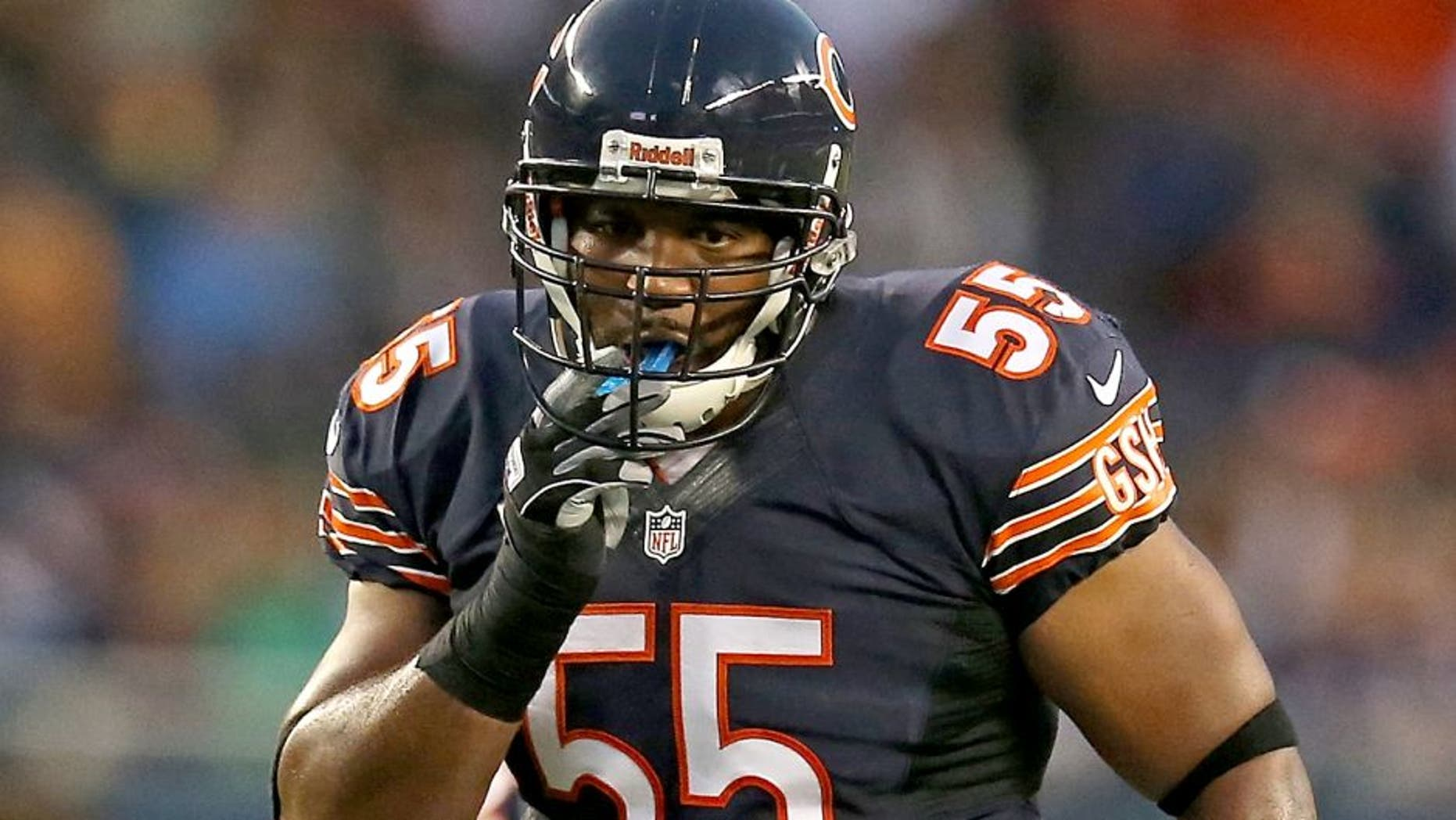 CHICAGO, IL - AUGUST 15: Lance Briggs #55 of the Chicago Bears waits for the snap against the San Diego Chargers at Soldier Field on August 15, 2013 in Chicago, Illinois. The Bears defeated the Chargers 33-28. (Photo by Jonathan Daniel/Getty Images) *** Local Caption *** Lance Briggs