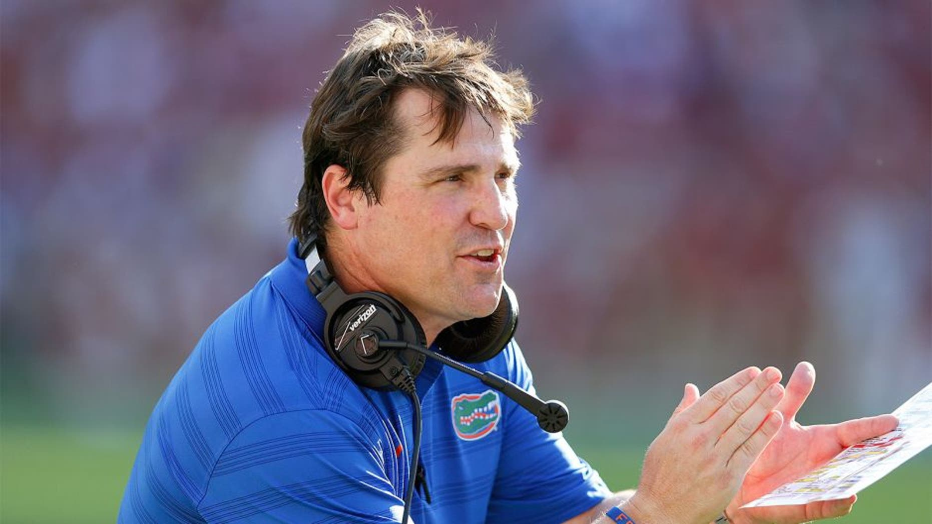 TUSCALOOSA, AL - SEPTEMBER 20: Head coach Will Muschamp of the Florida Gators looks on during the game against the Alabama Crimson Tide at Bryant-Denny Stadium on September 20, 2014 in Tuscaloosa, Alabama. Alabama defeated Florida 42-21. (Photo by Joe Robbins/Getty Images) *** Local Caption *** Will Muschamp