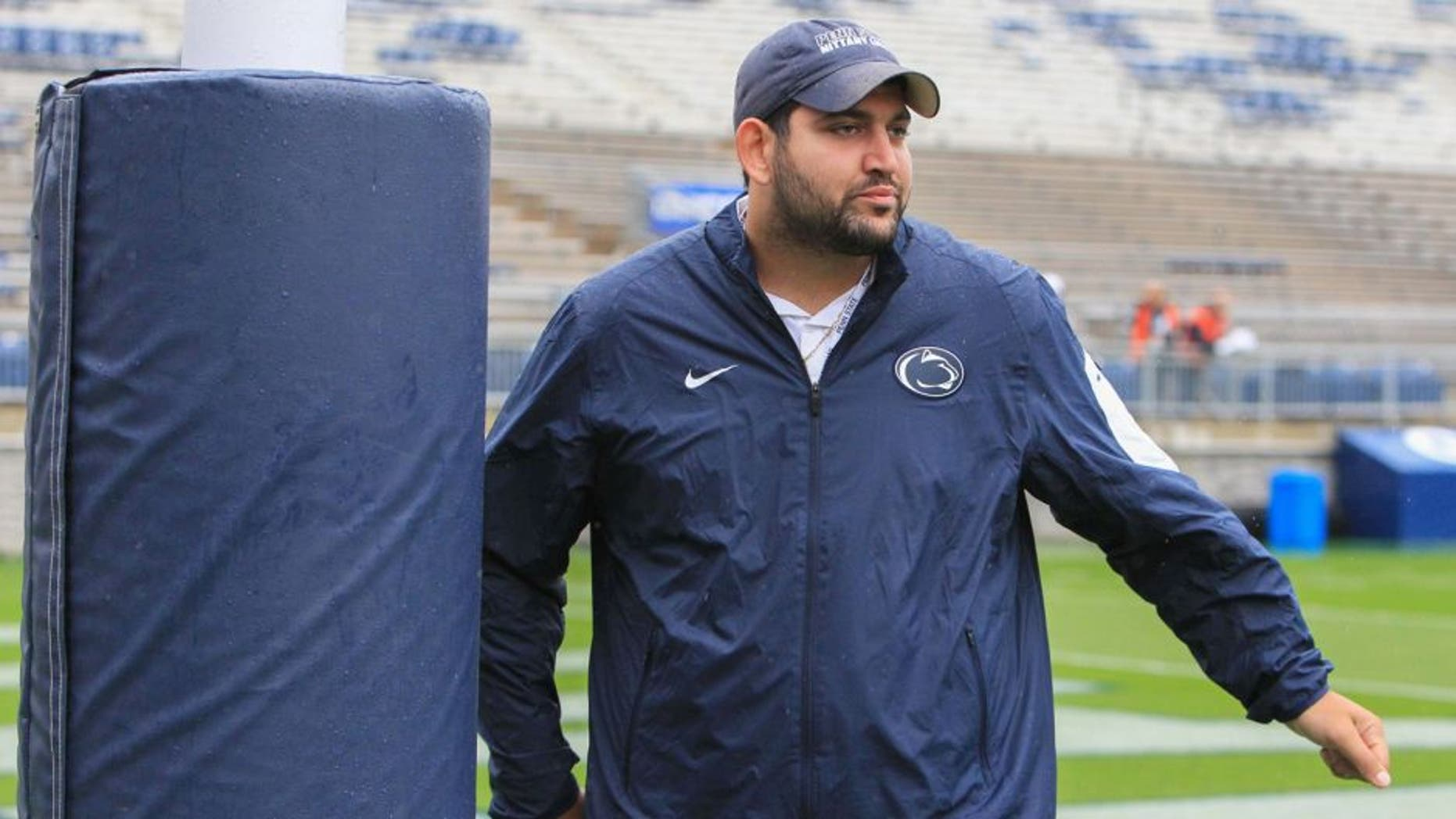 Sep 12, 2015; University Park, PA, USA; Penn State Nittany Lions center Angelo Mangiro (66) walks on the field prior to the game against the Buffalo Bulls at Beaver Stadium. Mandatory Credit: Matthew O'Haren-USA TODAY Sports