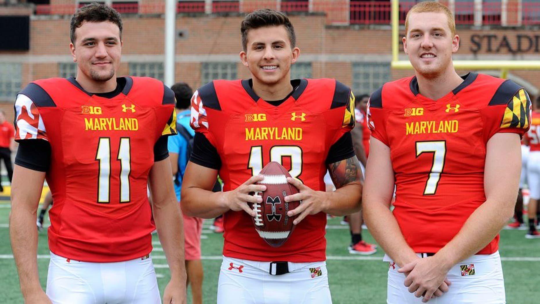COLLEGE PARK, MD - AUGUST 10: Maryland Terrapins quarterbacks from left, Perry Hills (11), Daxx Garman (18) and Caleb Rowe (7) will compete for the starting position where they are photographed during media day August 10, 2015 in College Park, MD. (Photo by Katherine Frey/The Washington Post via Getty Images)