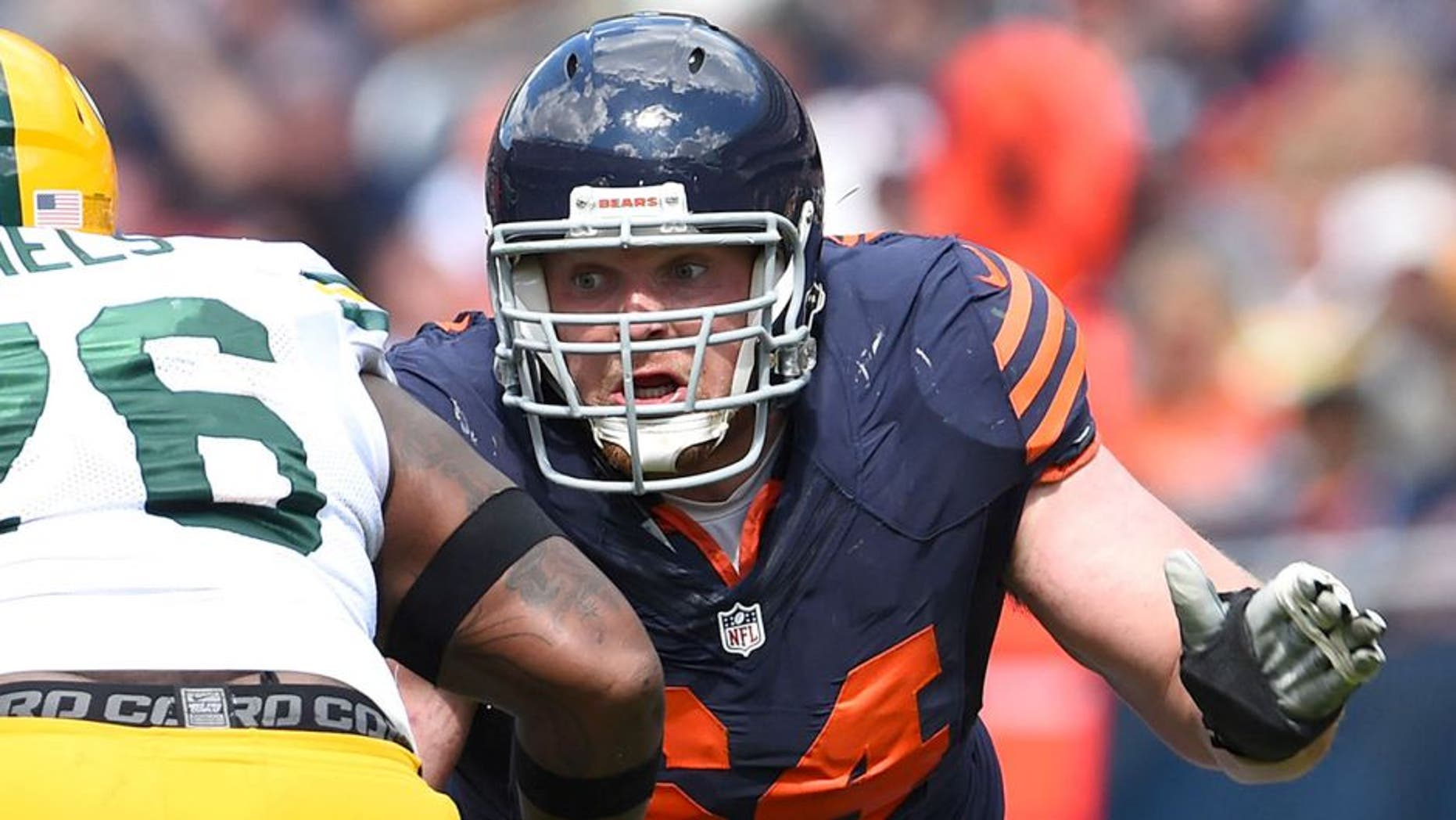 Sep 13, 2015; Chicago, IL, USA; Chicago Bears center Will Montgomery (64) during the second half at Soldier Field. Green Bay Packers defeats the Chicago Bears 31-23. Mandatory Credit: Mike DiNovo-USA TODAY Sports