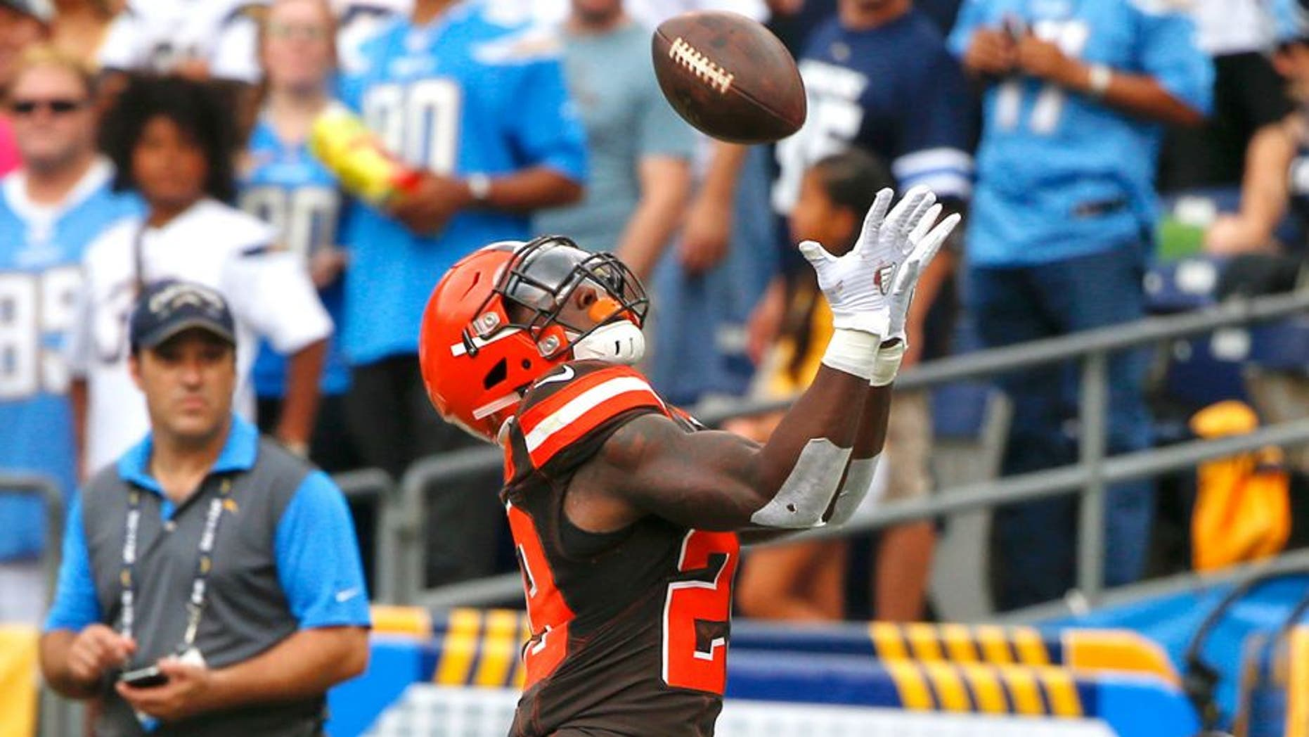 Cleveland Browns running back Duke Johnson makes an end zone catch for a touchdown against the San Diego Chargers during the first half of an NFL football game, Sunday, Oct. 4, 2015, in San Diego. (AP Photo/Lenny Ignelzi)