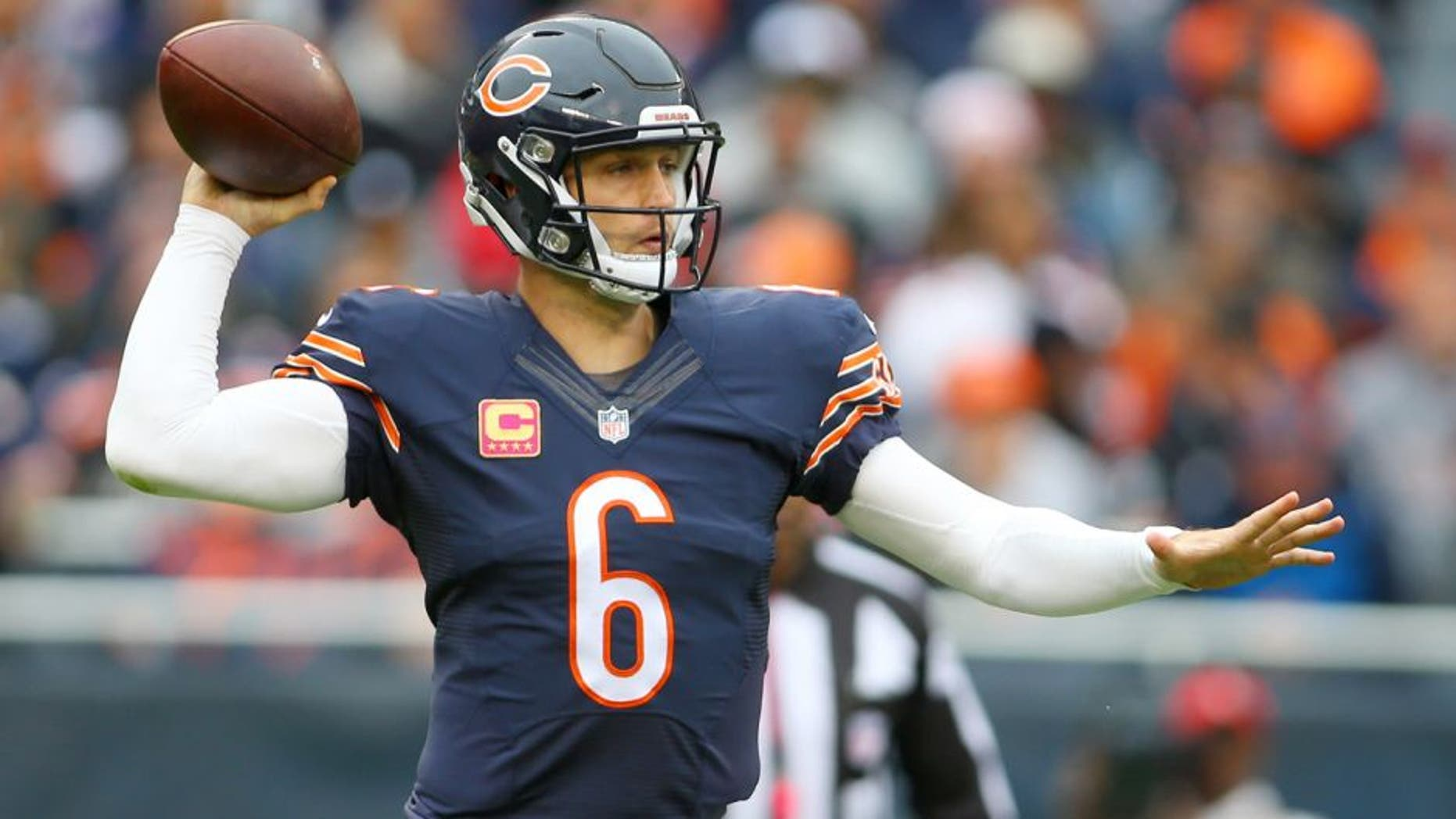 Oct 4, 2015; Chicago, IL, USA; Chicago Bears quarterback Jay Cutler (6) throws a pass against the Oakland Raiders during the second quarter at Soldier Field. Mandatory Credit: Jerry Lai-USA TODAY Sports