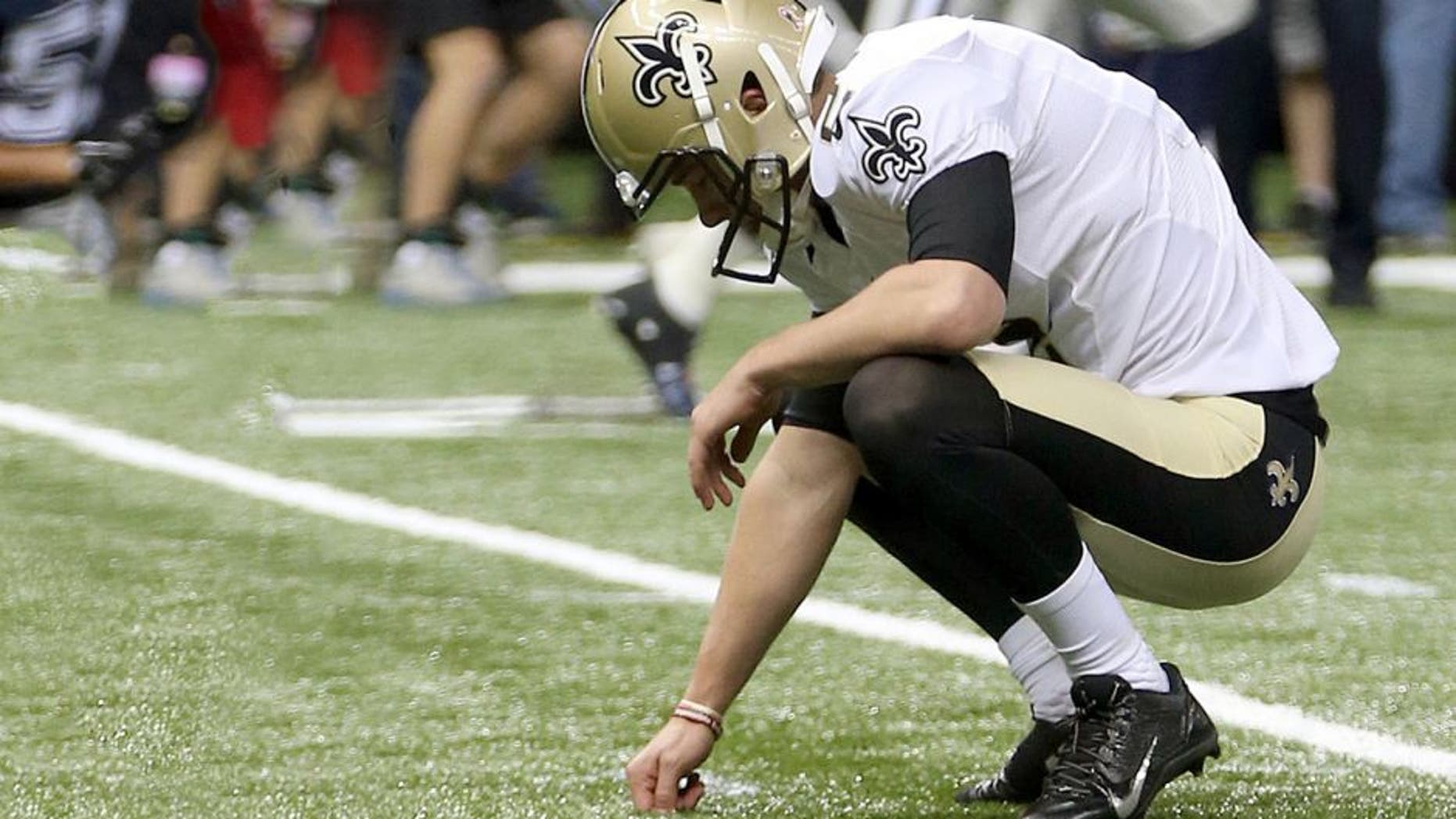 Oct 4, 2015; New Orleans, LA, USA; New Orleans Saints kicker Zach Hocker (2) reacts after missing a field goal at the end of the fourth quarter against the Dallas Cowboys at Mercedes-Benz Superdome. The Saints won 26-20. Mandatory Credit: Chuck Cook-USA TODAY Sports